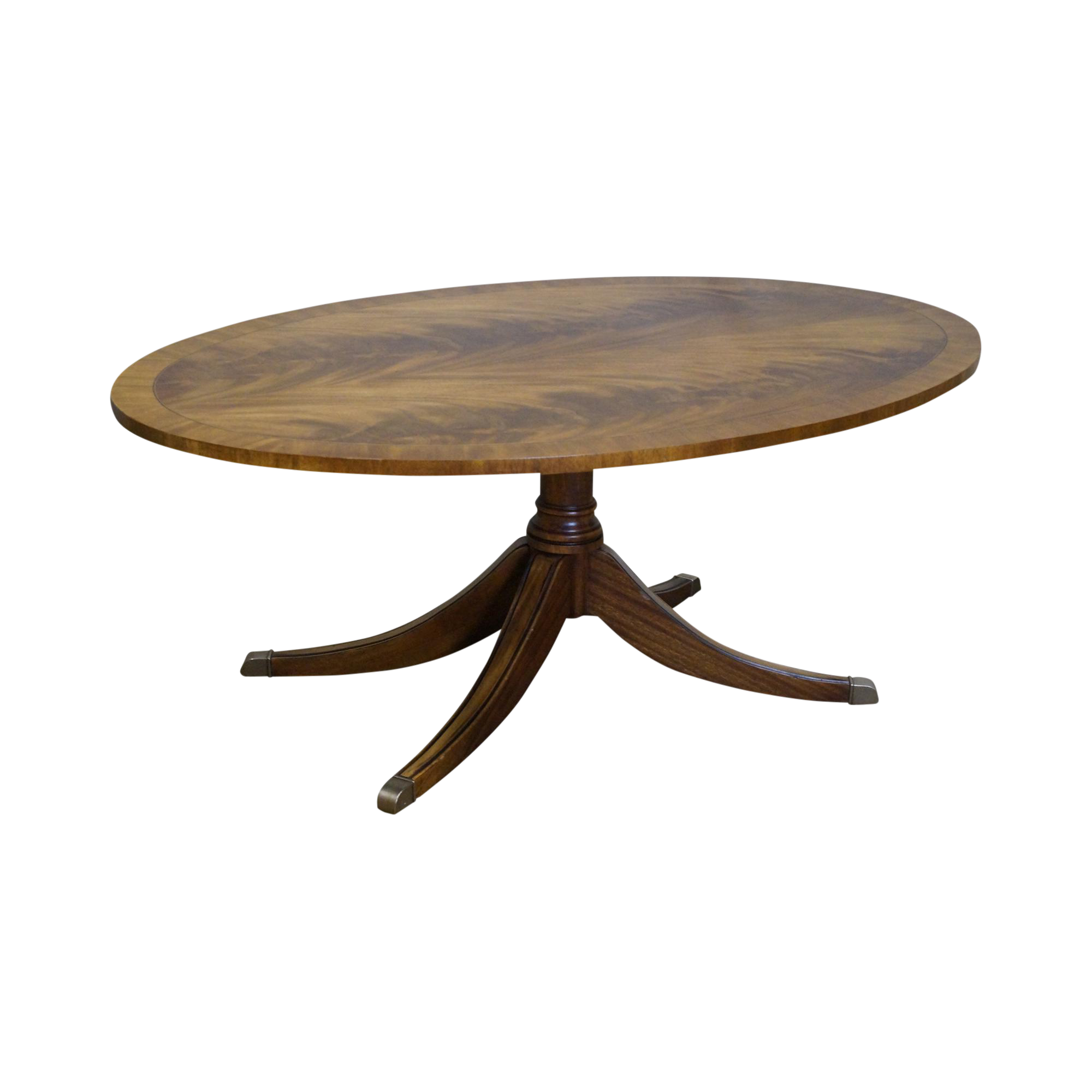Used Ethan Allen Coffee Tables: Ethan Allen Flame Mahogany Oval Newport Coffee Table