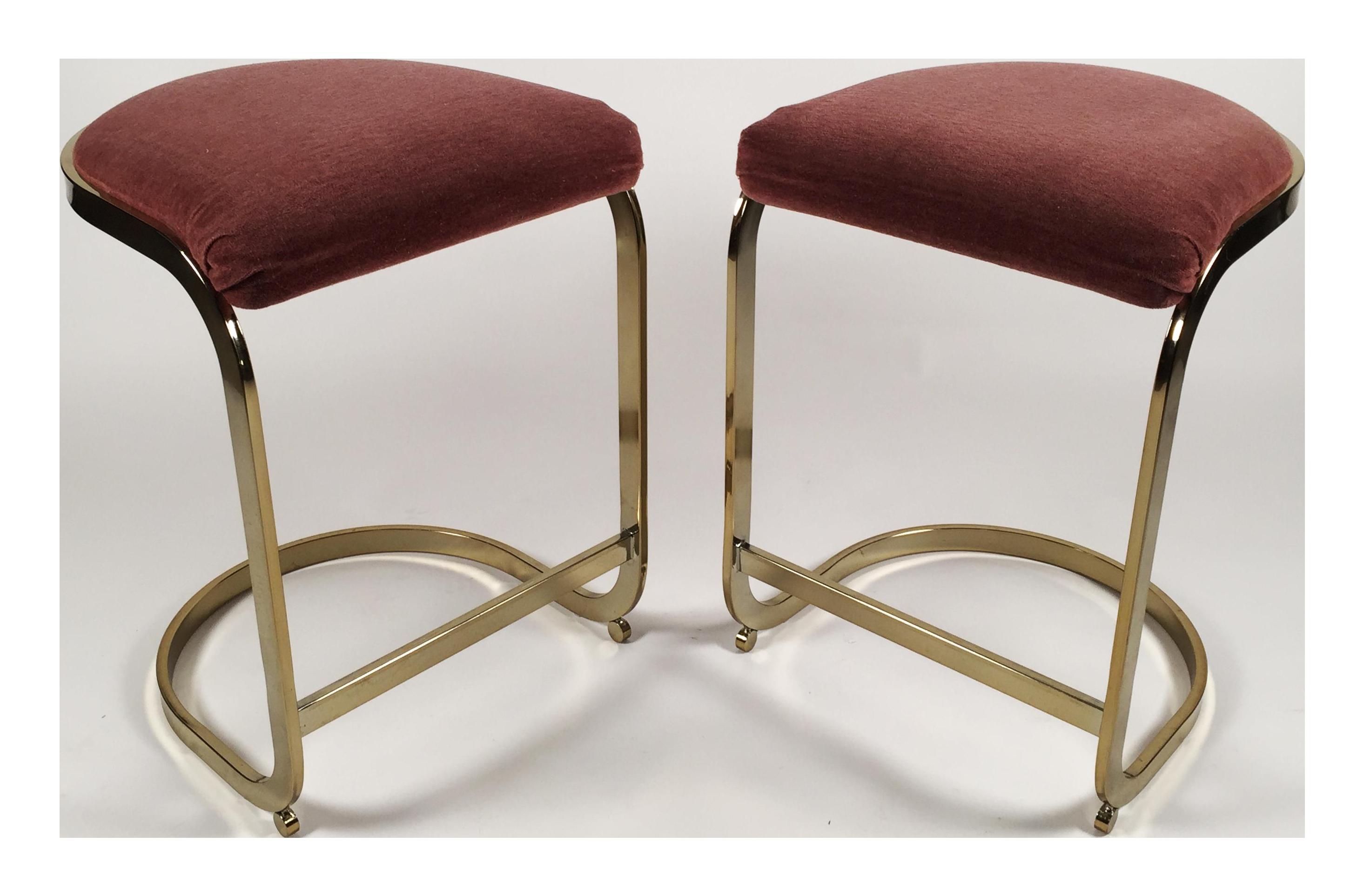 Milo Baughman Style Cantilever Bar Stools A Pair Chairish