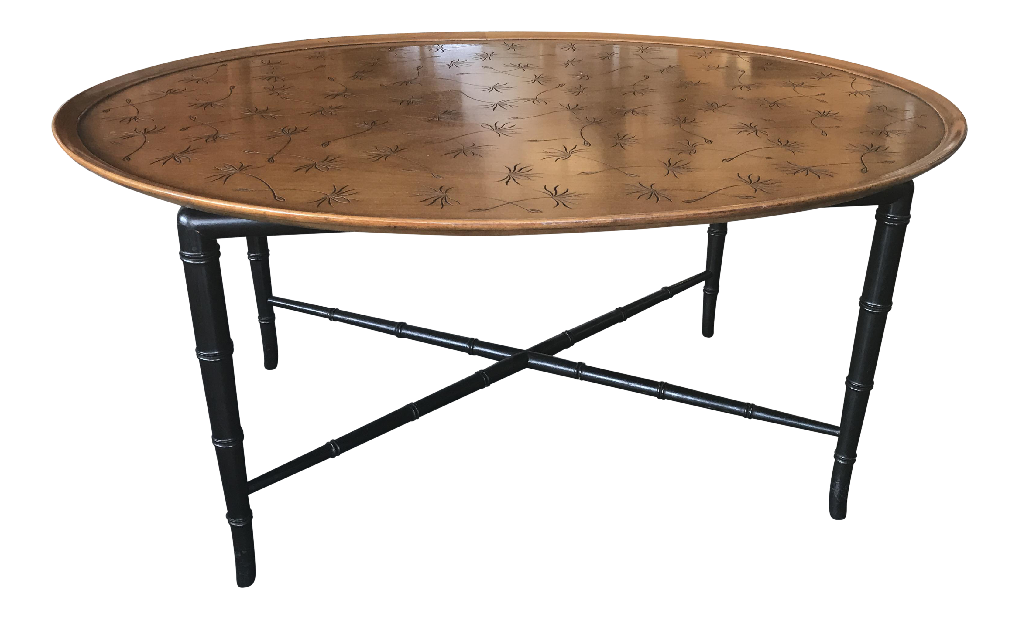 Vintage used chinoiserie coffee tables chairish kittinger mahogany coffee table with faux bamboo legs geotapseo Gallery