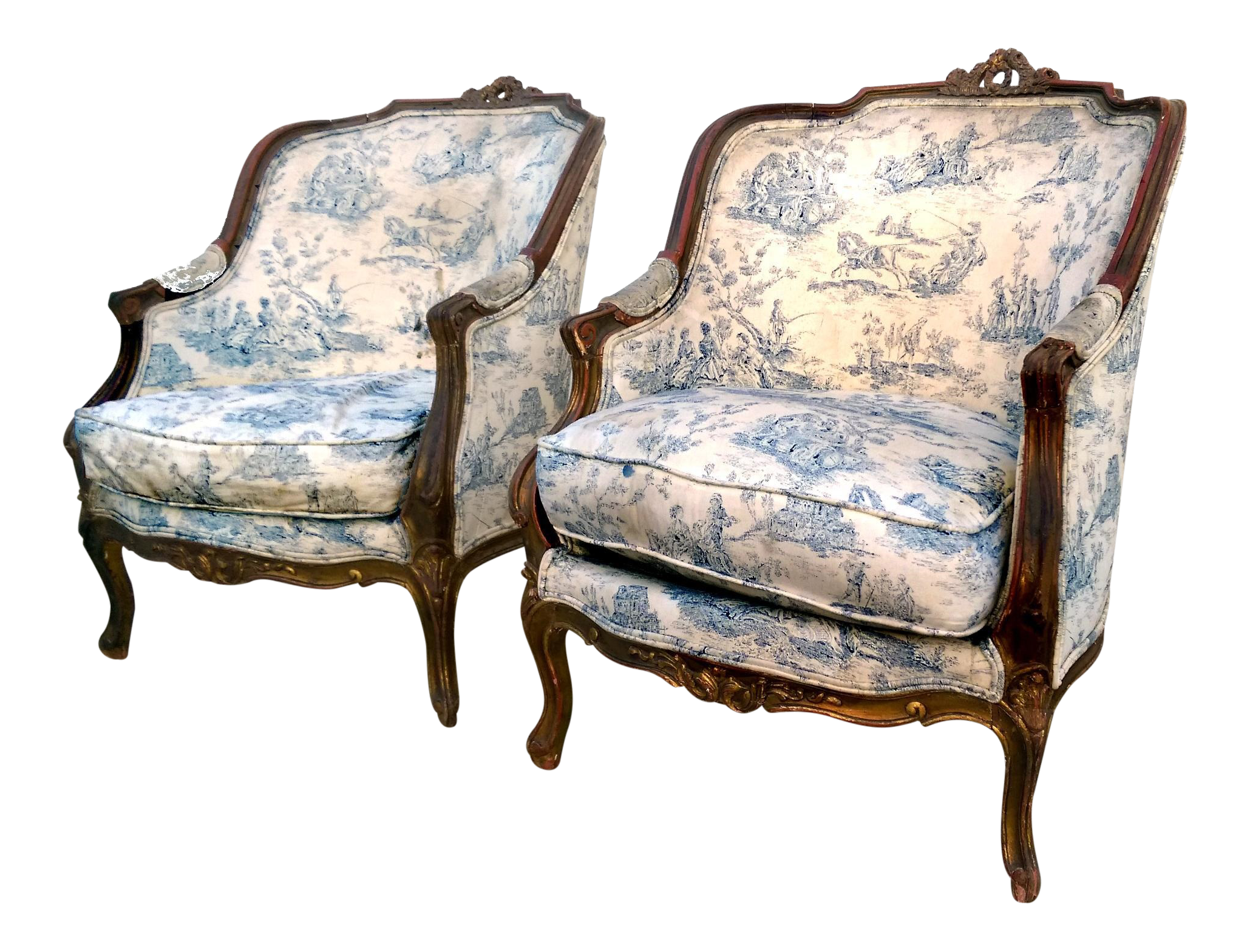 Antique louis xv toile berg re chairs a pair chairish for Table bergere