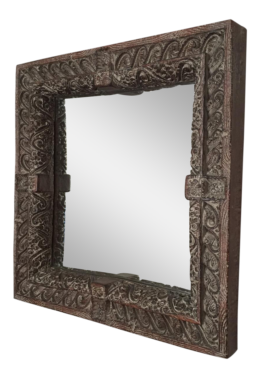 South asian style faux wood mirror chairish for Asian style mirror