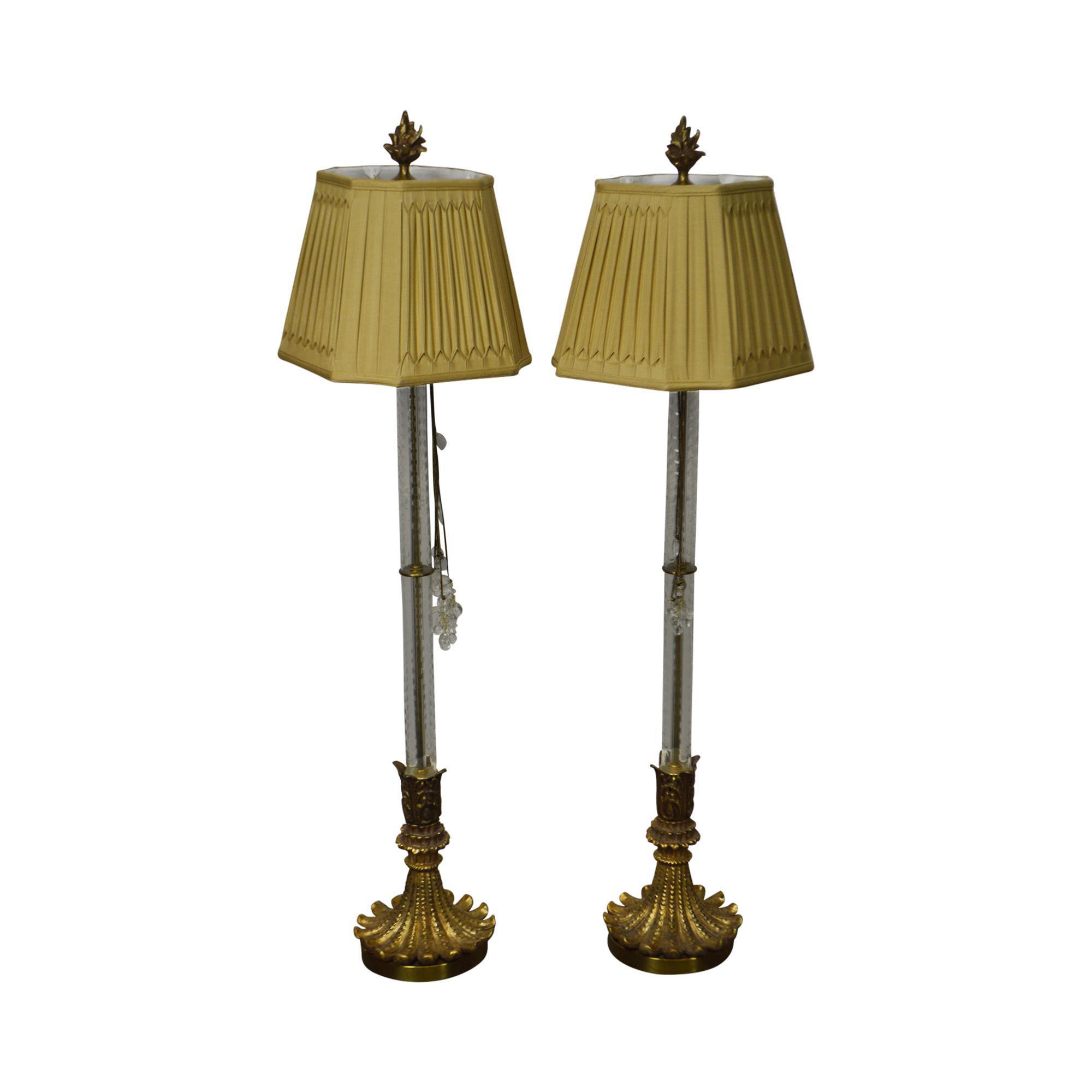 John richard pair of tall glass column gilt base table lamps john richard pair of tall glass column gilt base table lamps chairish geotapseo Image collections