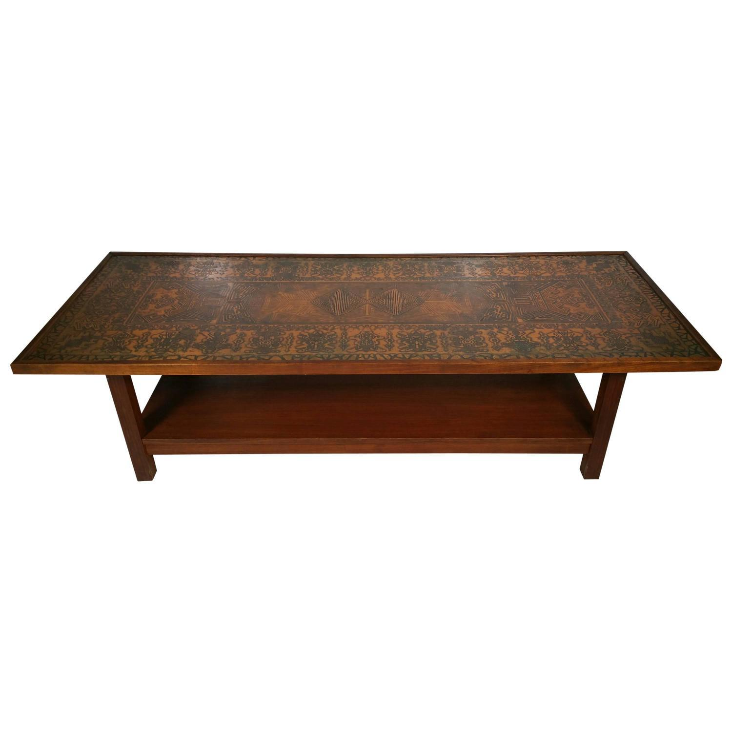 Danish Modern Copper Top Rosewood Coffee Table Chairish