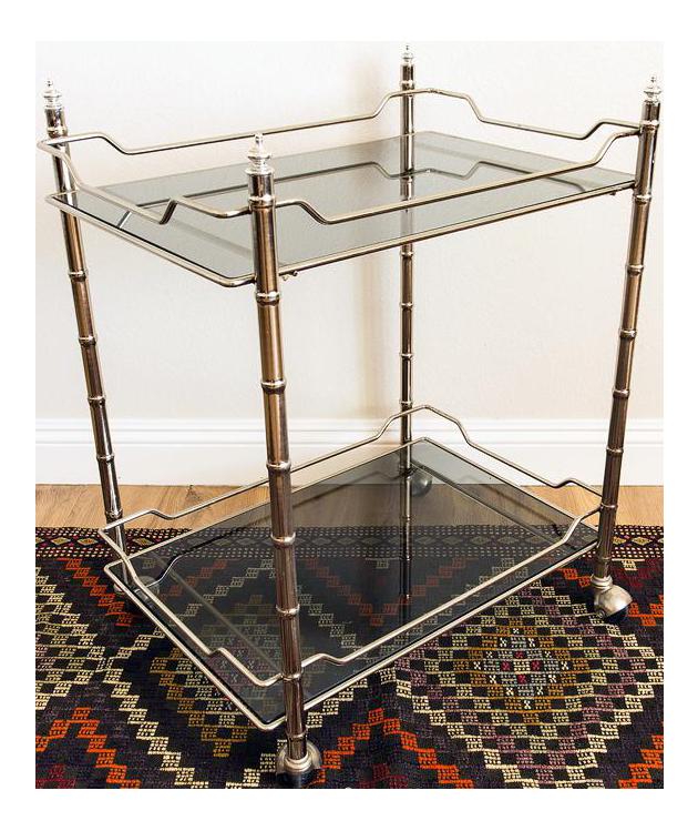 mid century modern chrome bar cart chairish. Black Bedroom Furniture Sets. Home Design Ideas