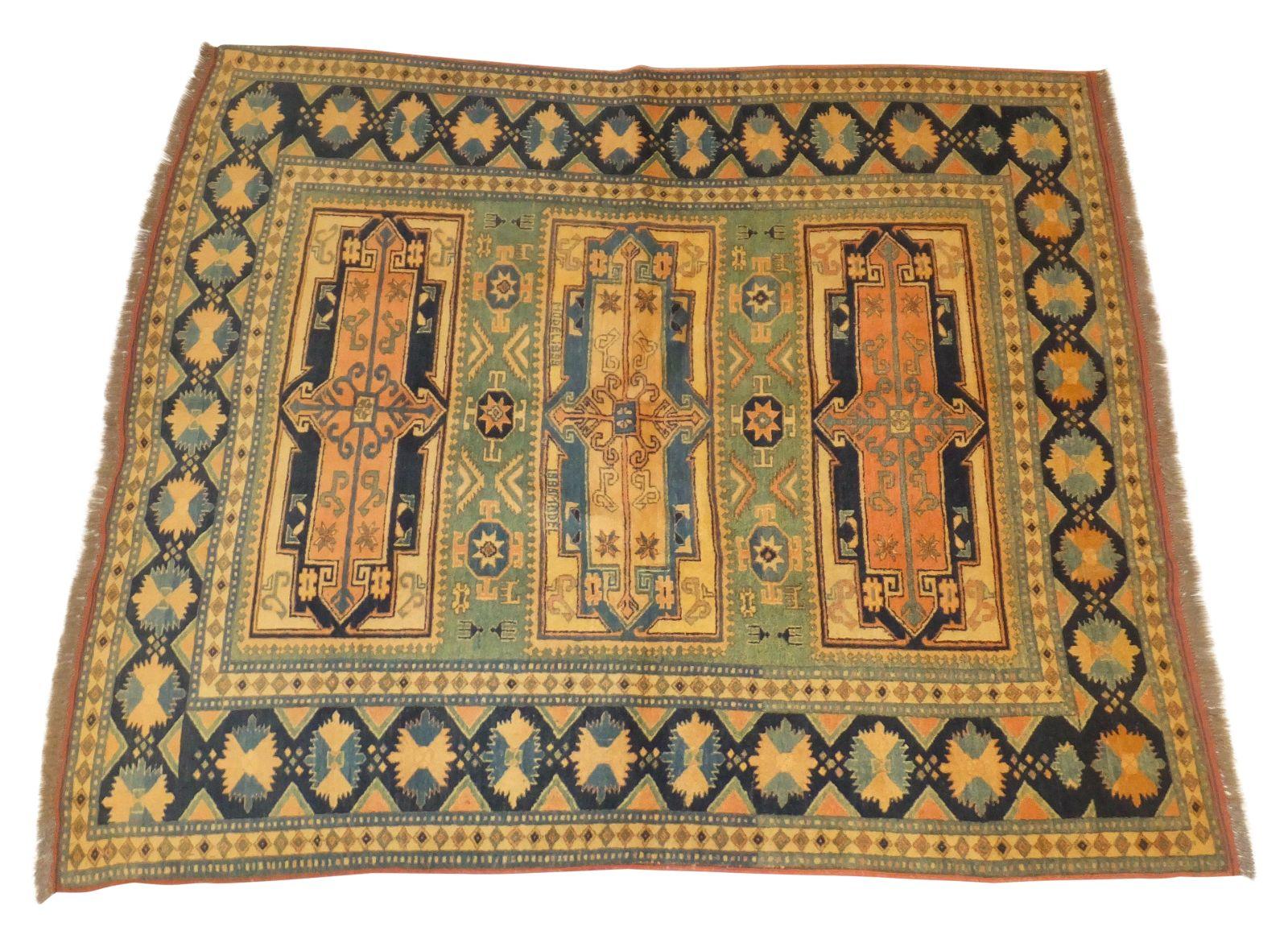 blue gold kazak rug 6 39 x 7 39 chairish. Black Bedroom Furniture Sets. Home Design Ideas
