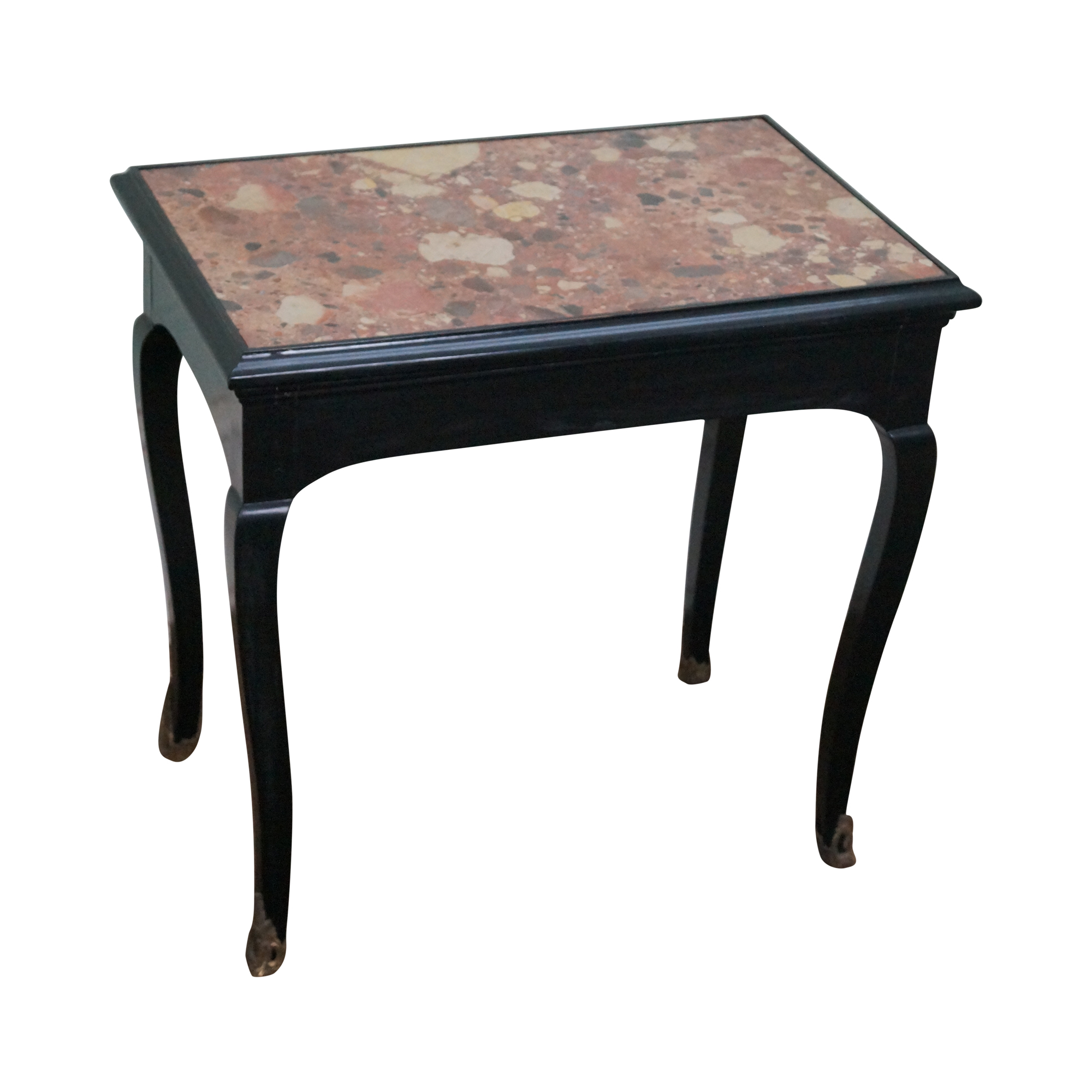 Antique french louis xv marble top side table chairish - Table de chevet louis xv ...