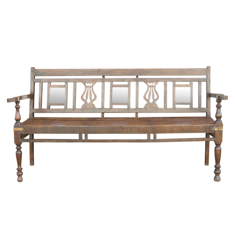 Anglo Indian Mirrored Teak Bench Chairish