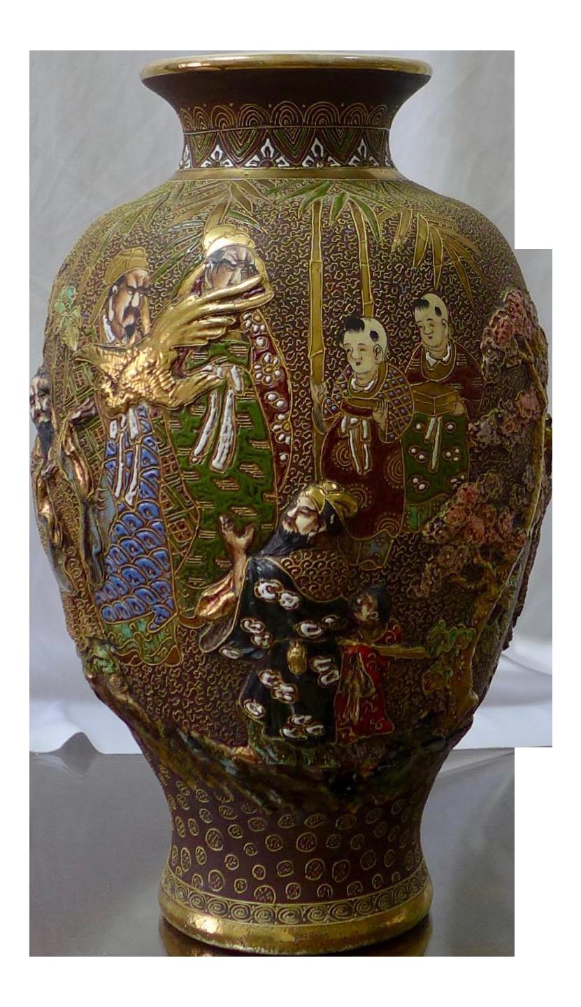 Japanese Satsuma Moriage Porcelain Vase Chairish