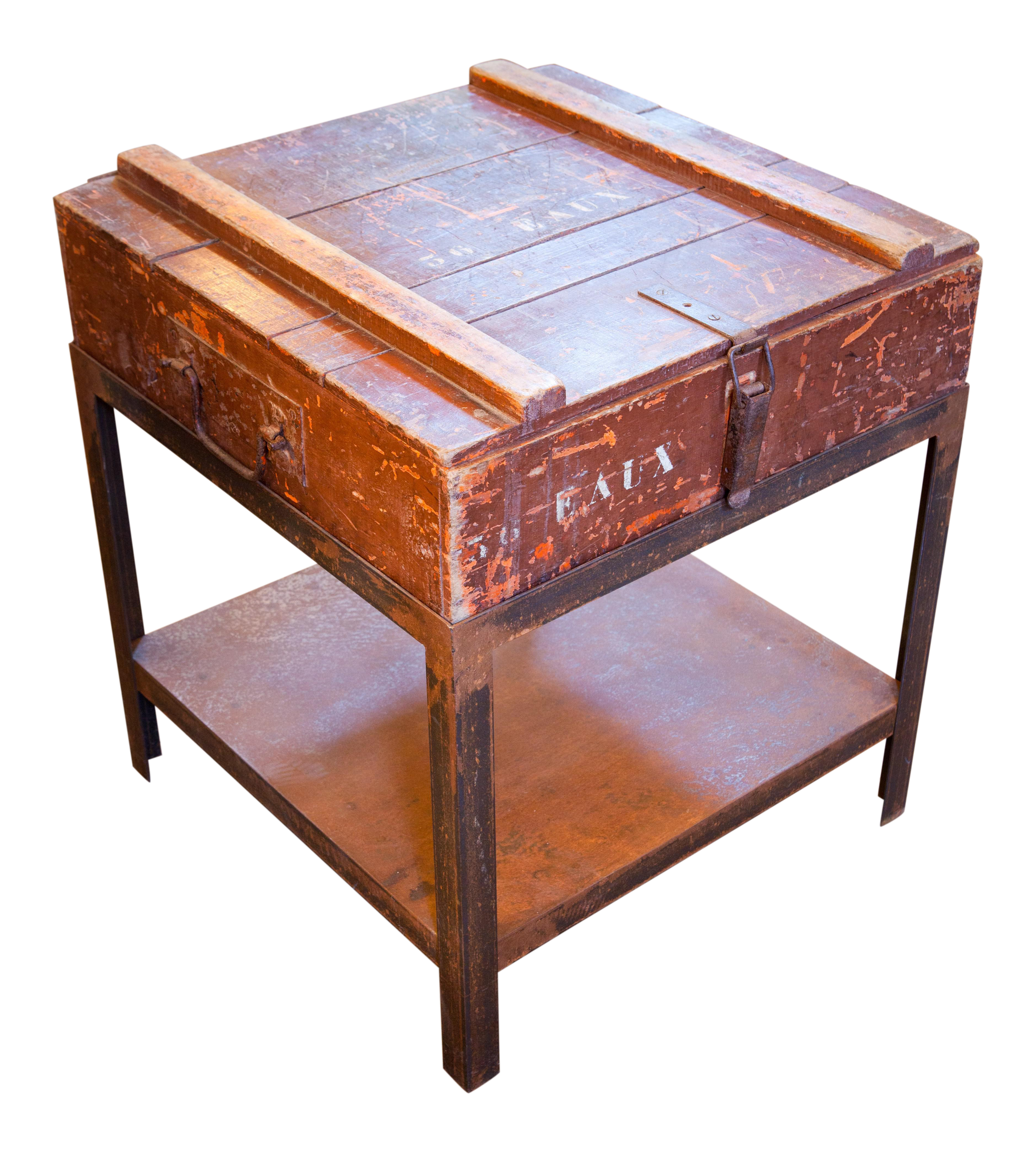Superb Antique Campaign Chest as Side Table on Iron Stand circa