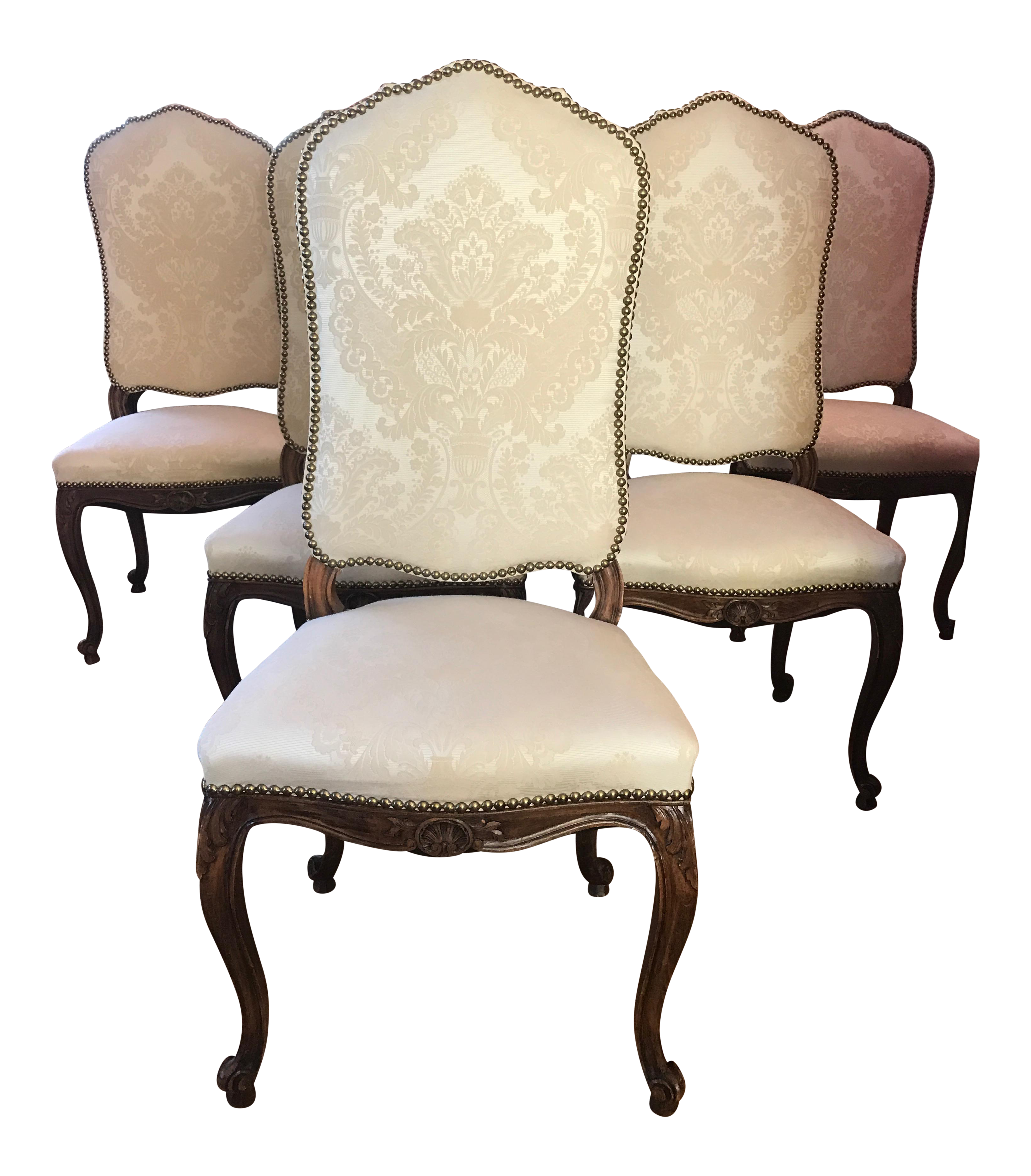 French Traditional Damask Upholstered Dining Chairs - Set ...