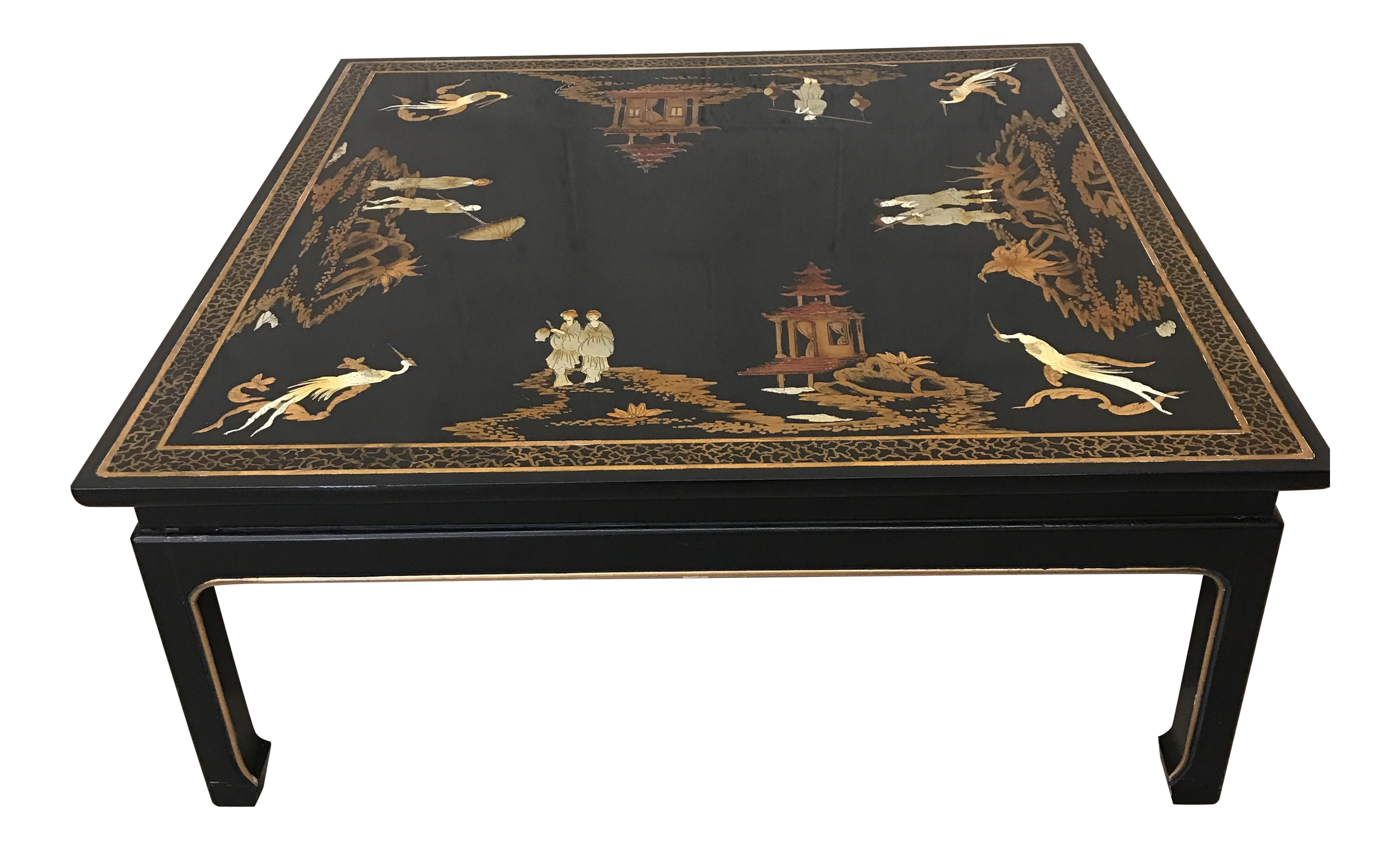 Vintage Asian Style Black Hand Painted Coffee Table