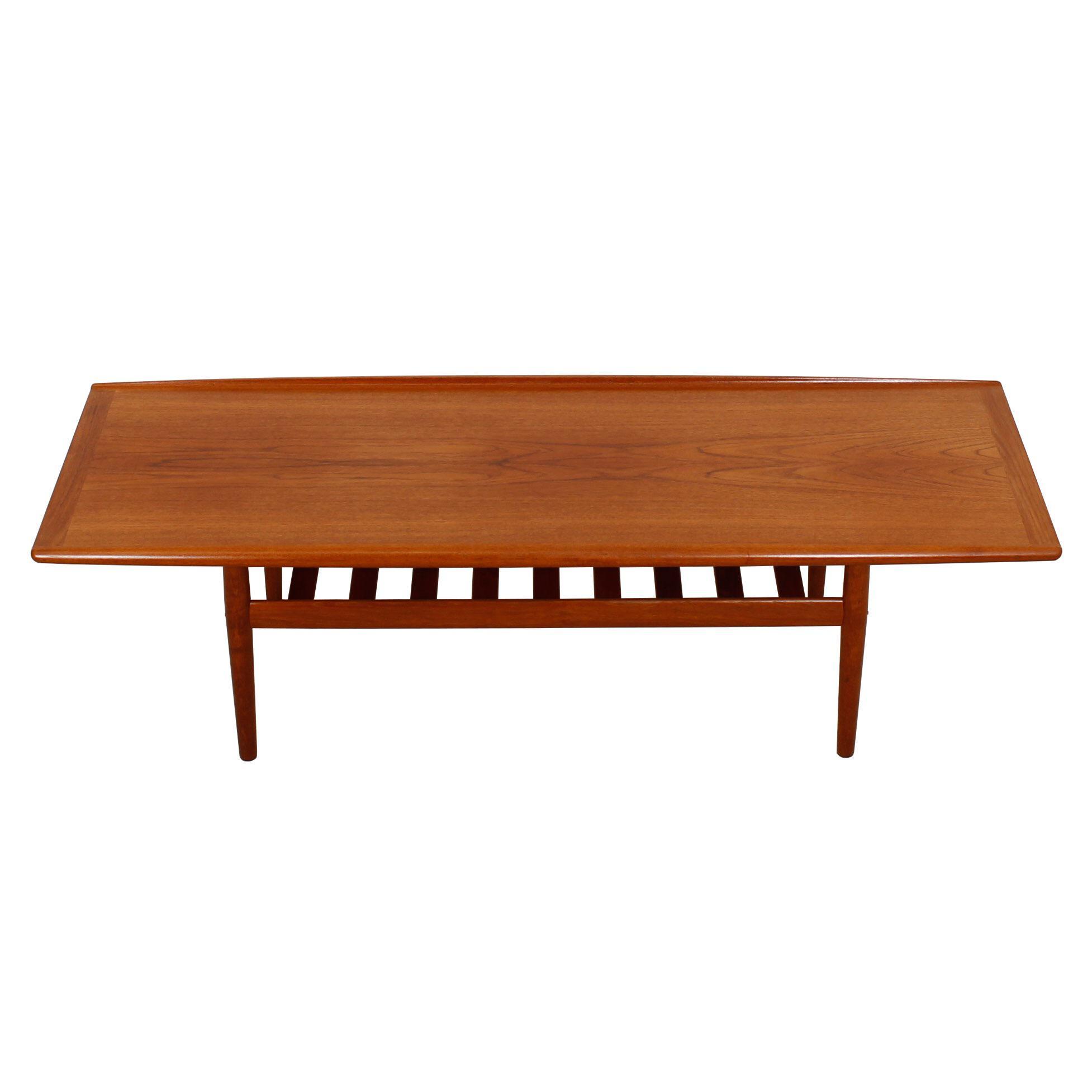 grete jalk danish teak surfboard coffee table | chairish