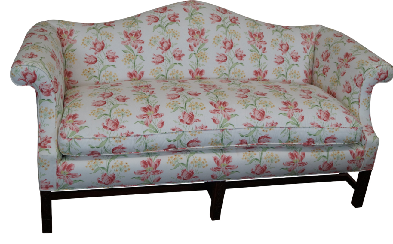 Image of Antique Chippendale Style Mahogany Frame Sofa