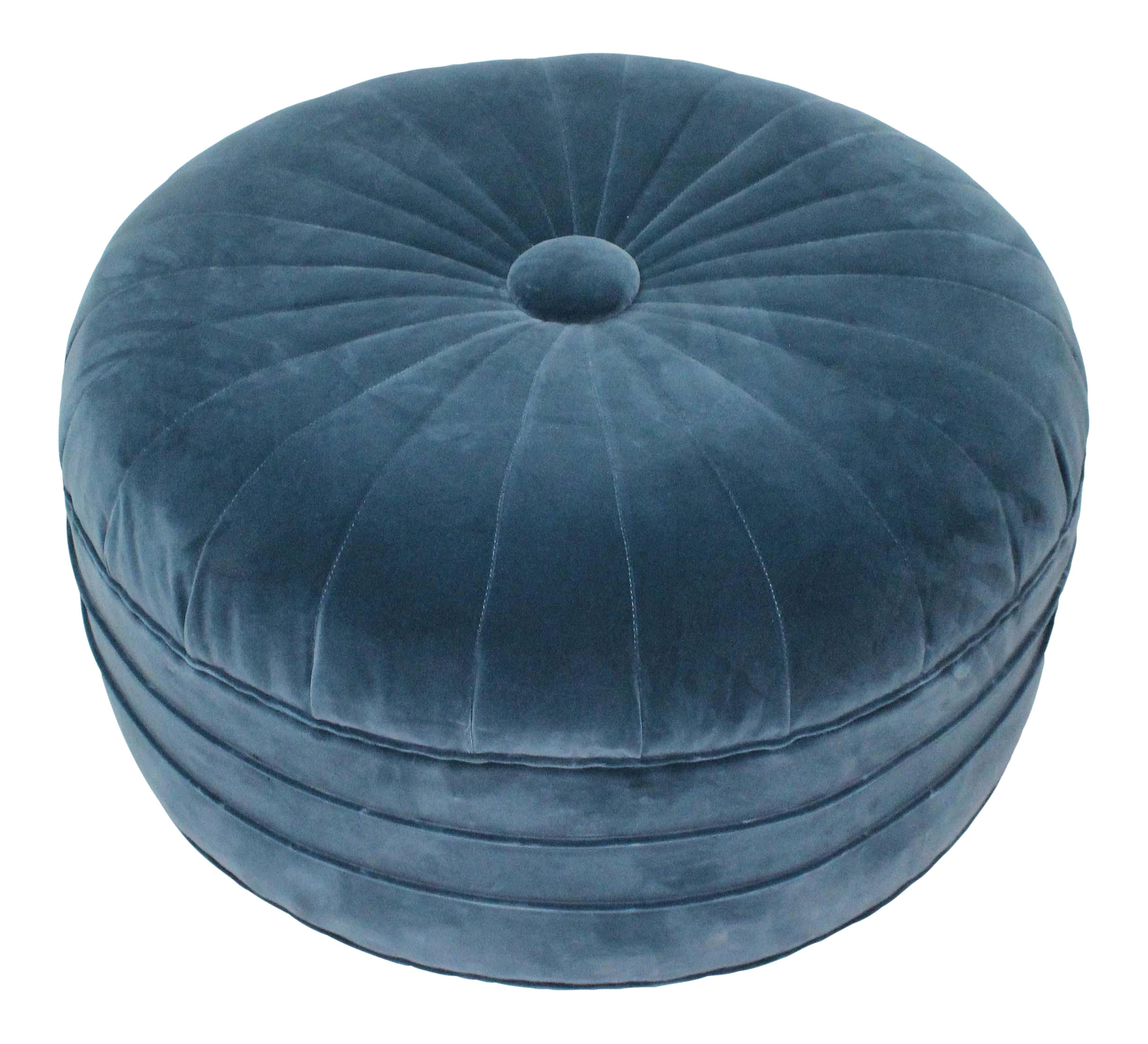 Round Art Deco Ottoman In Blue Velvet Chairish