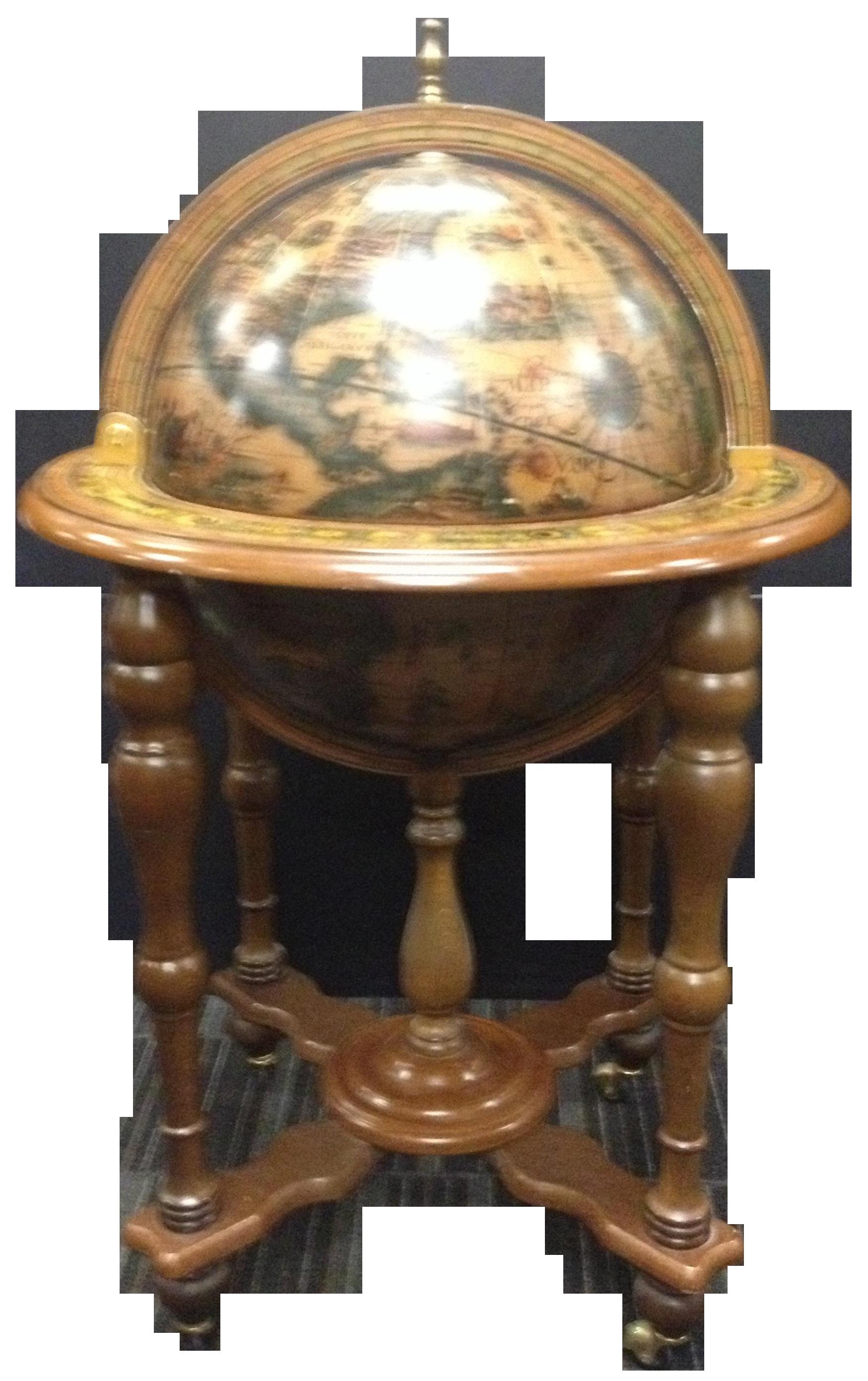 Image Of Vintage Mid Century Rotating Old World Globe Bar