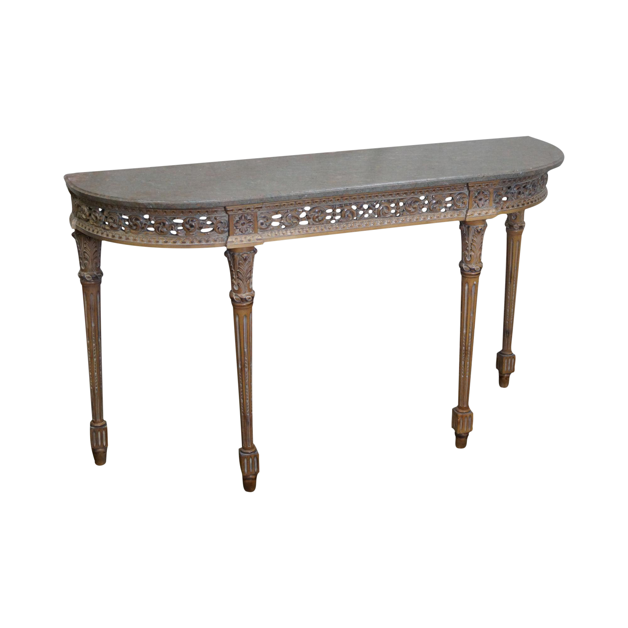 Trouvailles French Louis XVI Style Marble Top Console Table