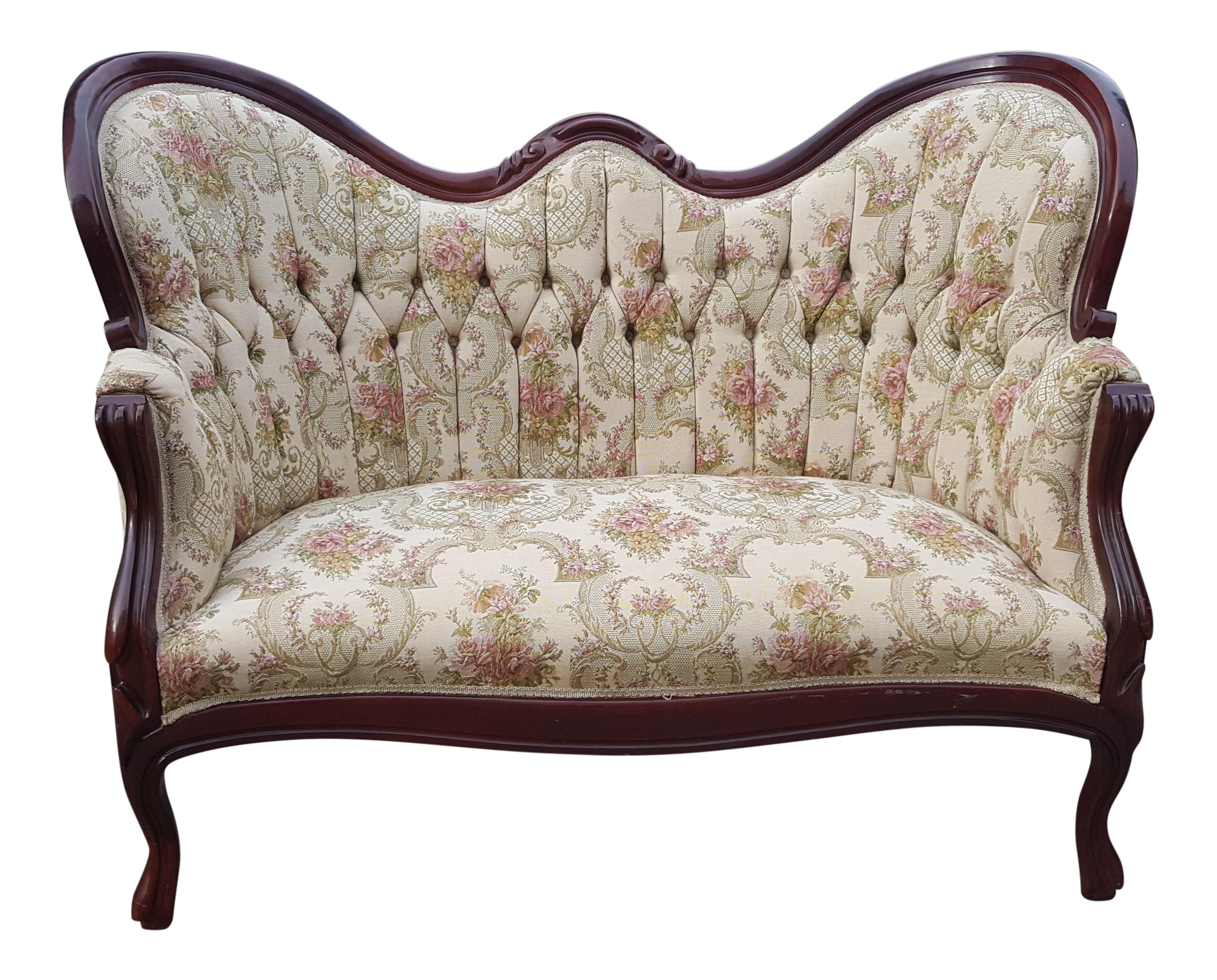Vintage Victorian Floral Tufted Loveseat Stunning Antique Tufted Ivory White Settee Chairish
