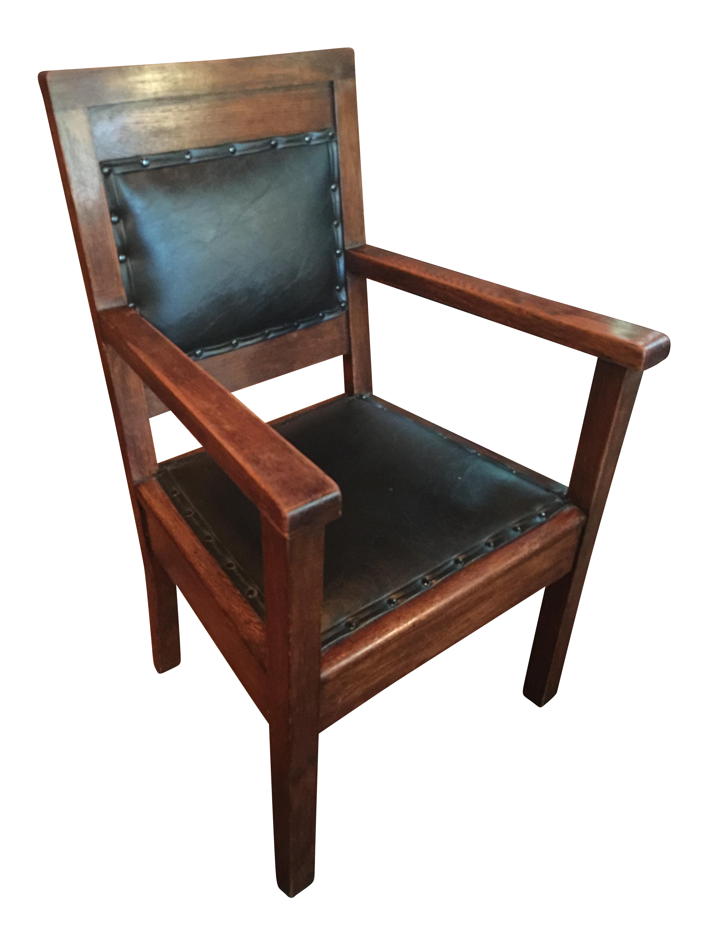antique mission leather on oak chair chairish