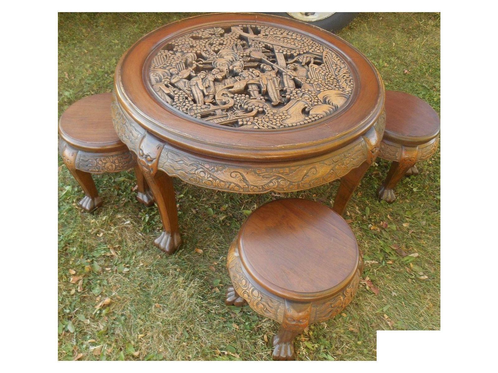Vintage Japanese Hand Carved Tea Table Dining Set