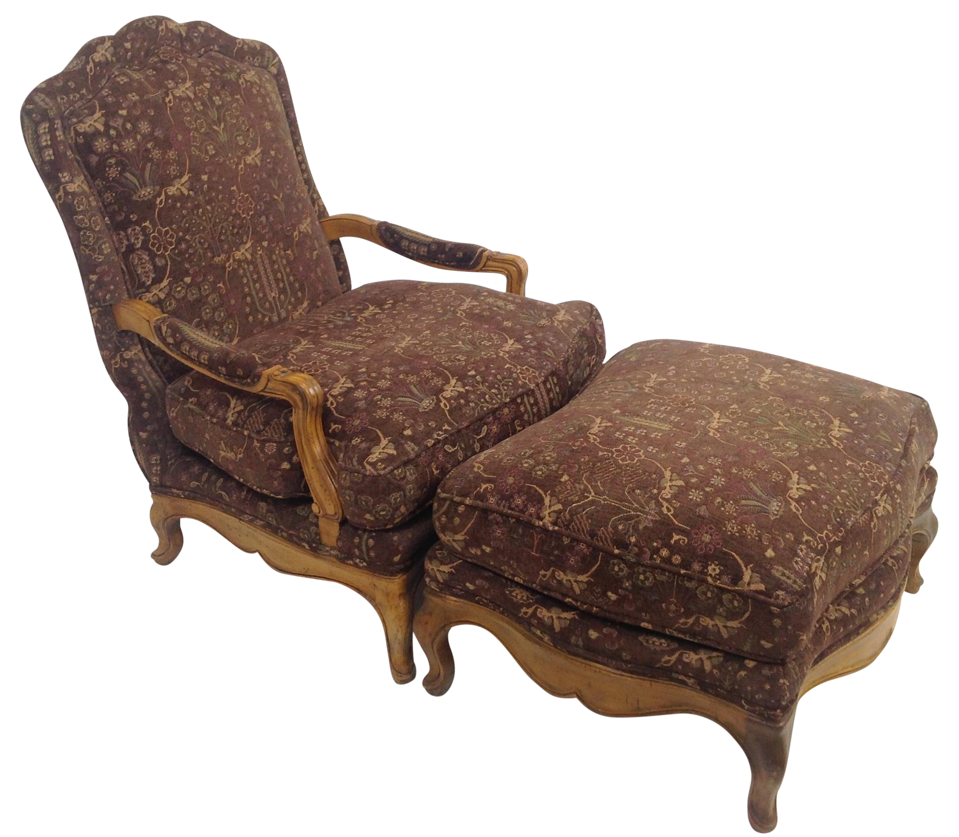 French Country Ottoman Coffee Table: Baker Country French Lounge Chair & Ottoman