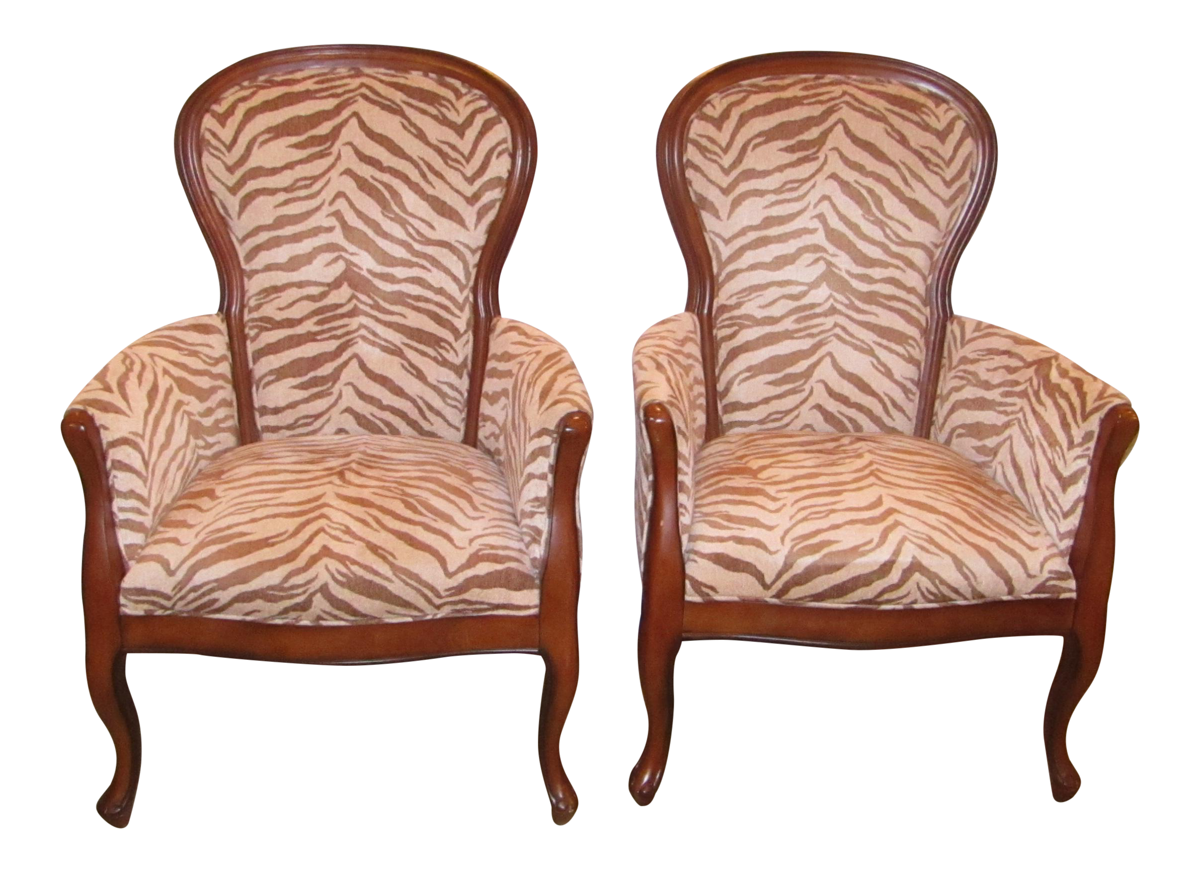 Upholstered Zebra Print Accent Chairs - A Chair | Chairish