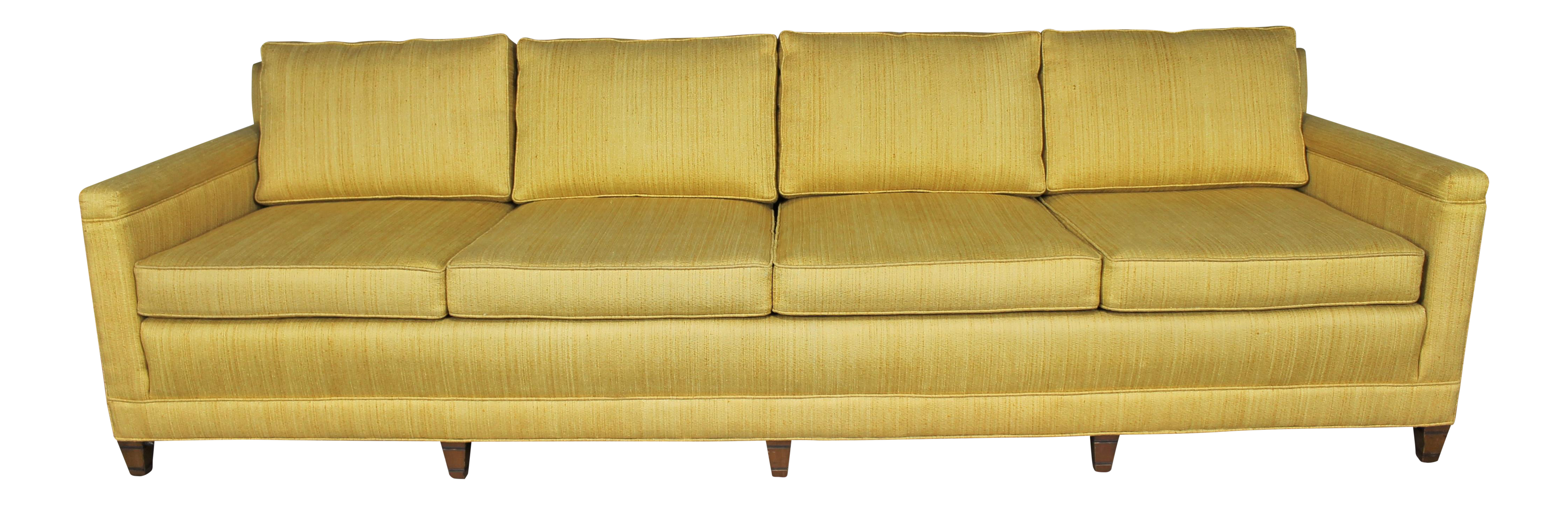 Mid Century Extra Long Lawson Golden Yellow Sofa