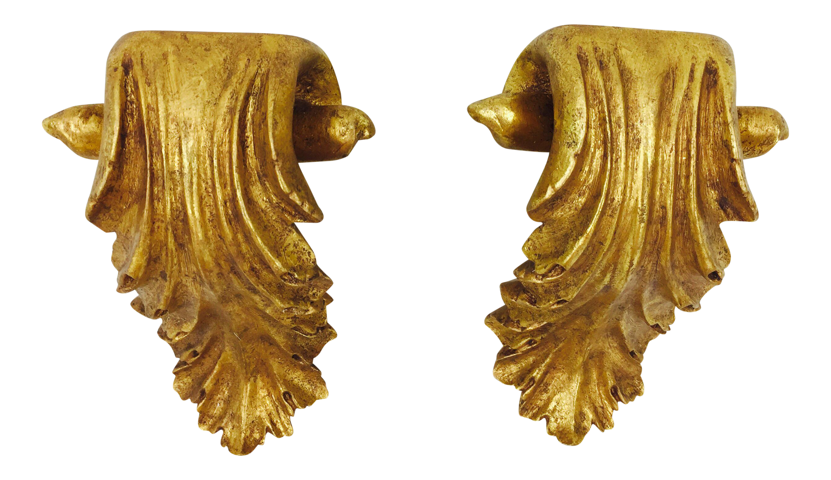 Gilded gold wall shelf sconce a pair chairish amipublicfo Gallery