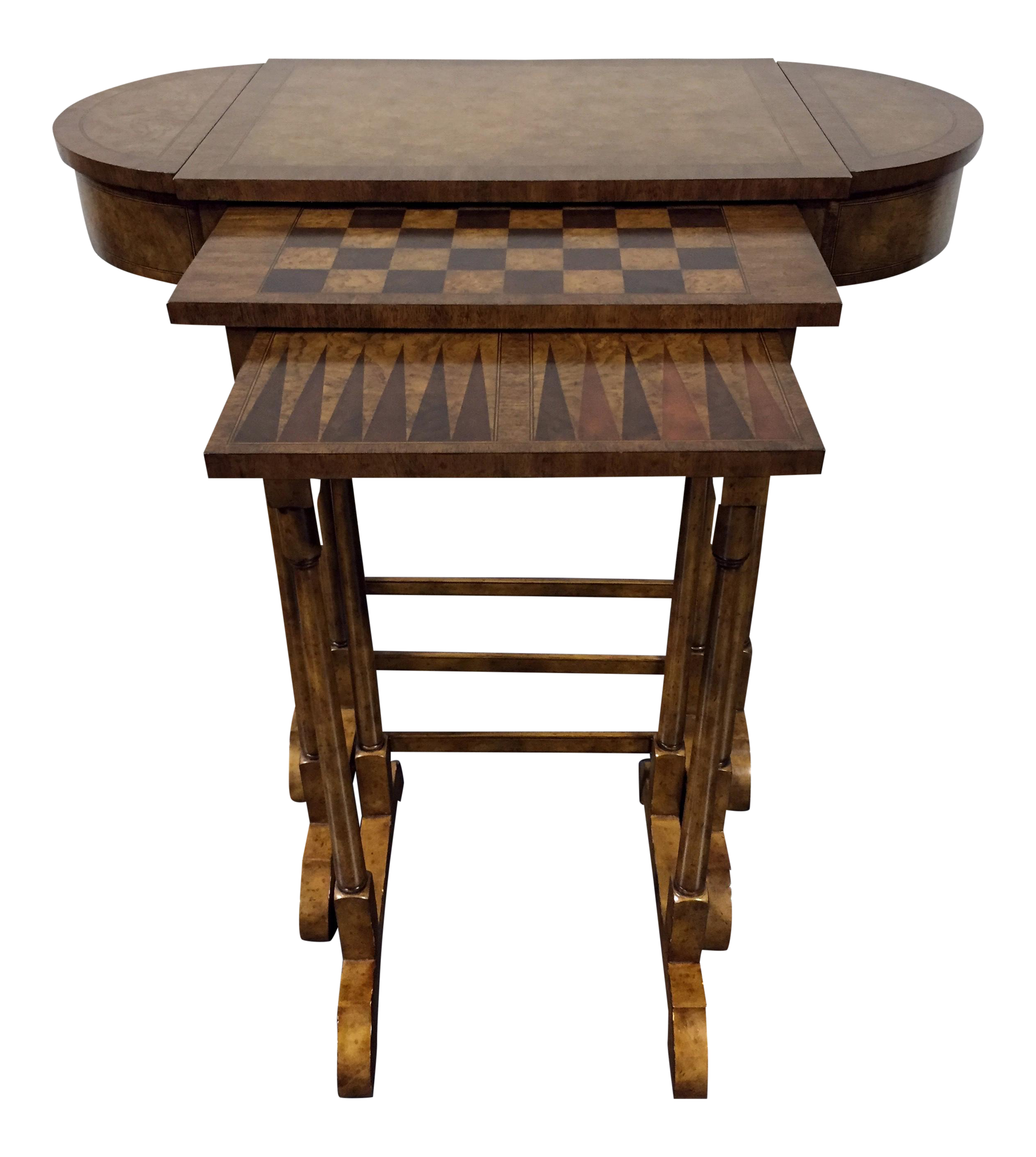 Maitland Smith Walnut Nesting Game Tables S 3