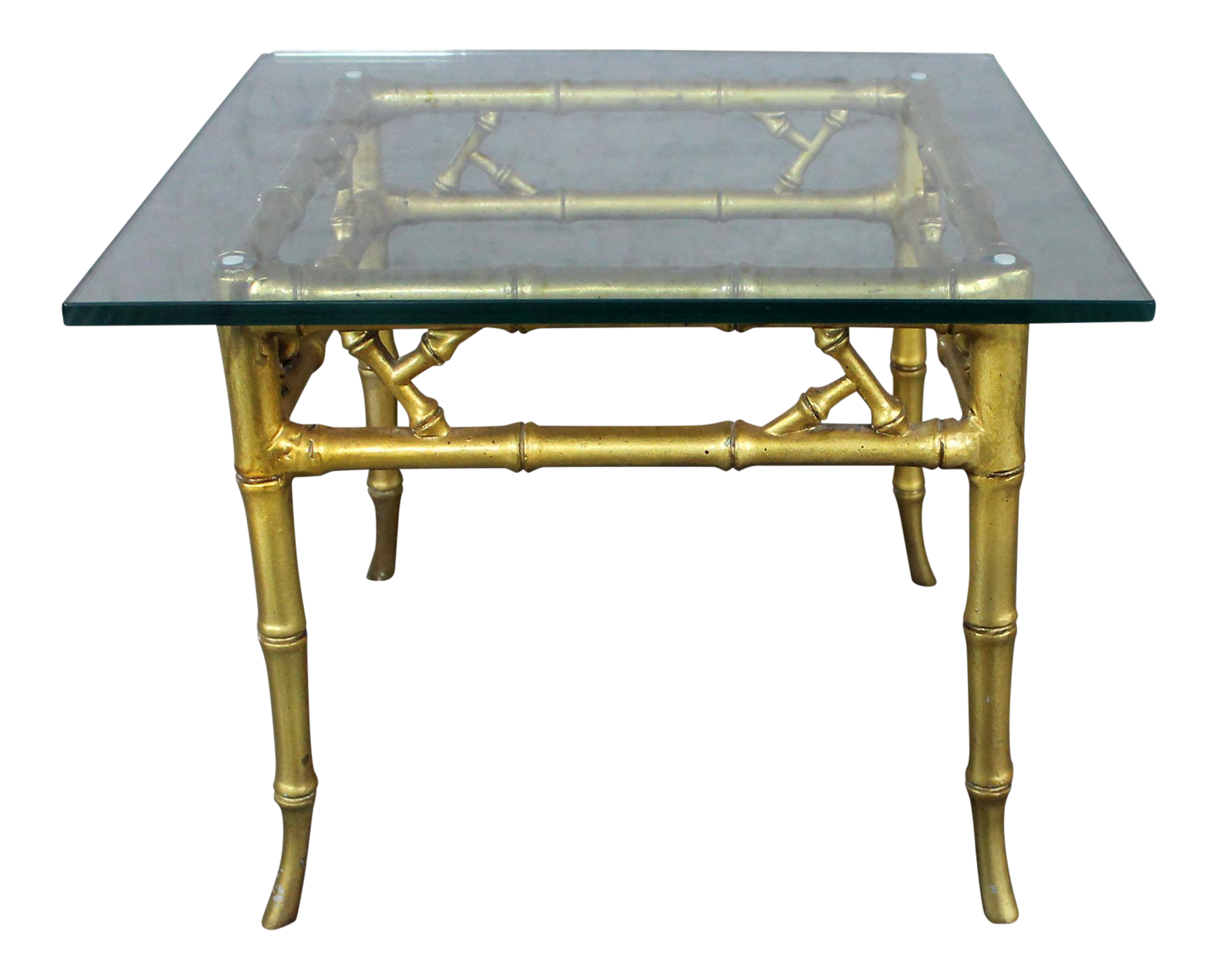 Phyllis Morris Style Gilt Faux Bamboo and Glass Side Table Vintage