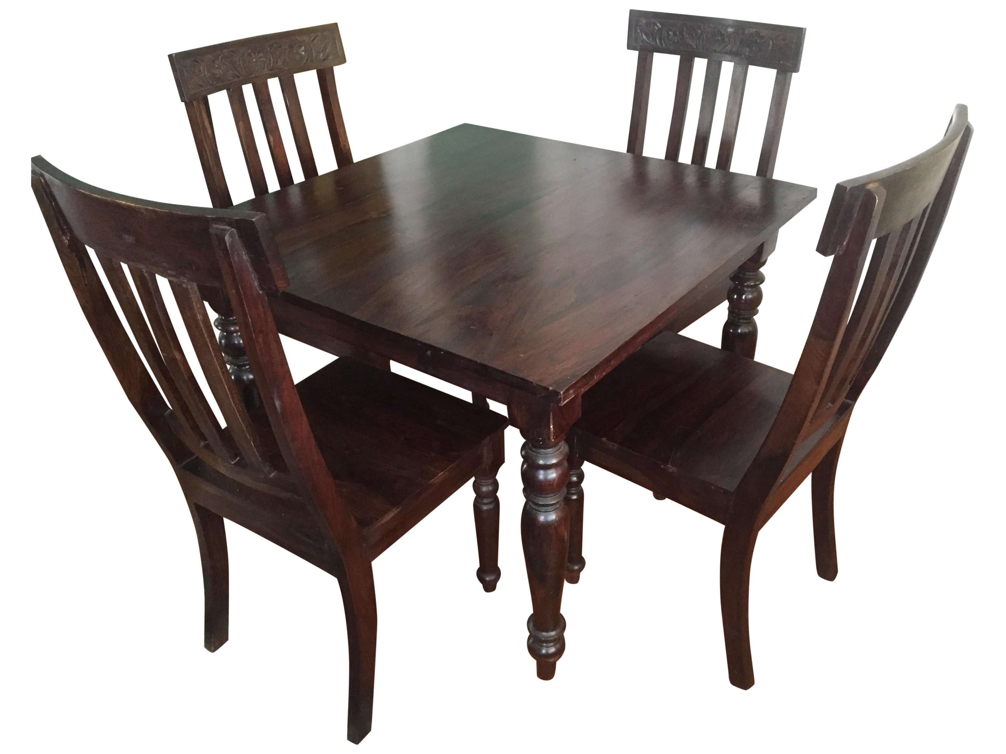 indian rosewood dining table 4 chairs chairish. Black Bedroom Furniture Sets. Home Design Ideas