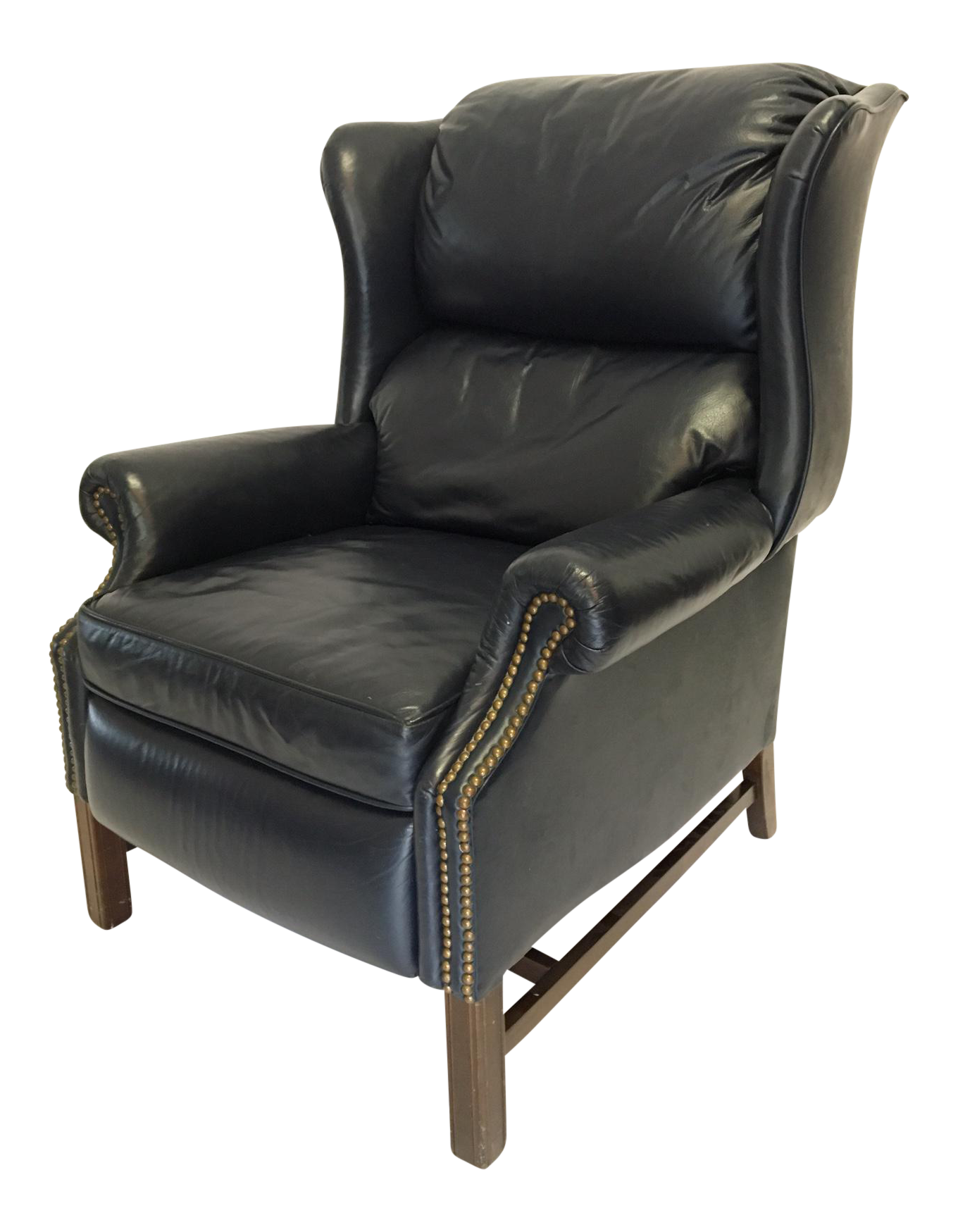 Lane Navy Leather Mid Century Wingback Recliner