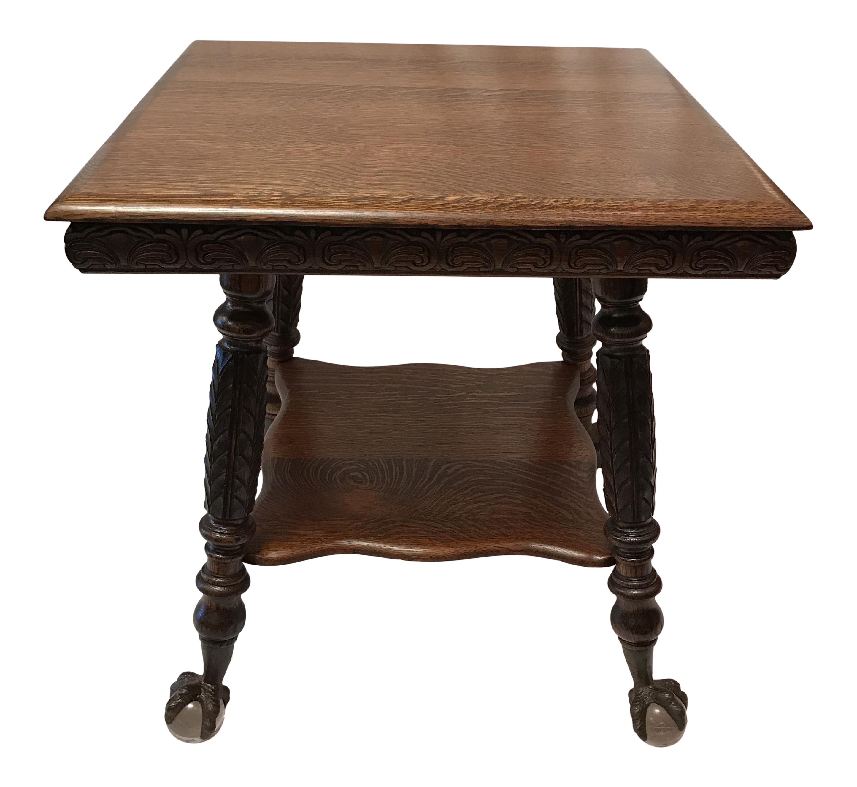 Antique claw foot oak table chairish geotapseo Choice Image