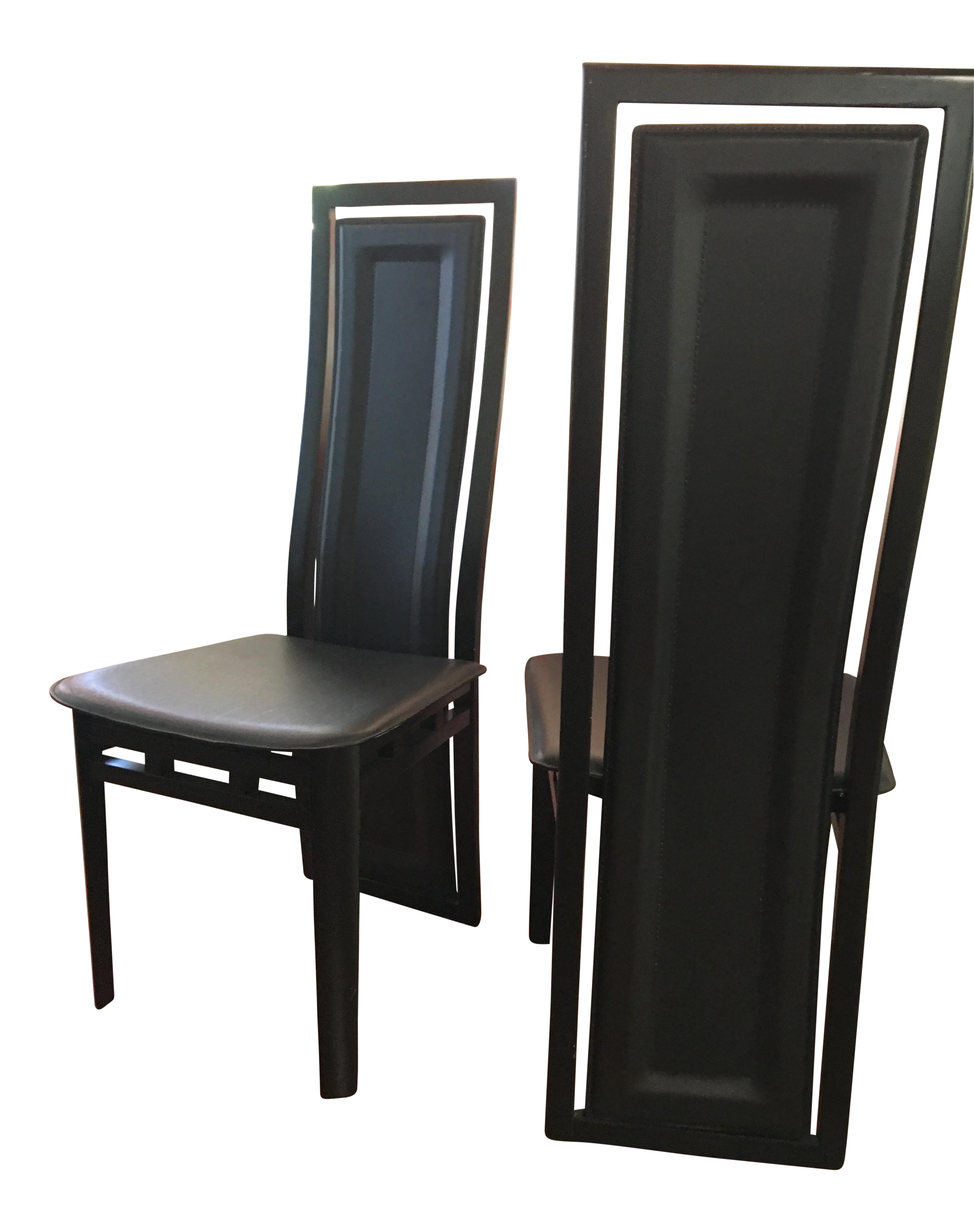 Roche bobois wood and leather dinning chairs pair chairish for Armoire roche bobois