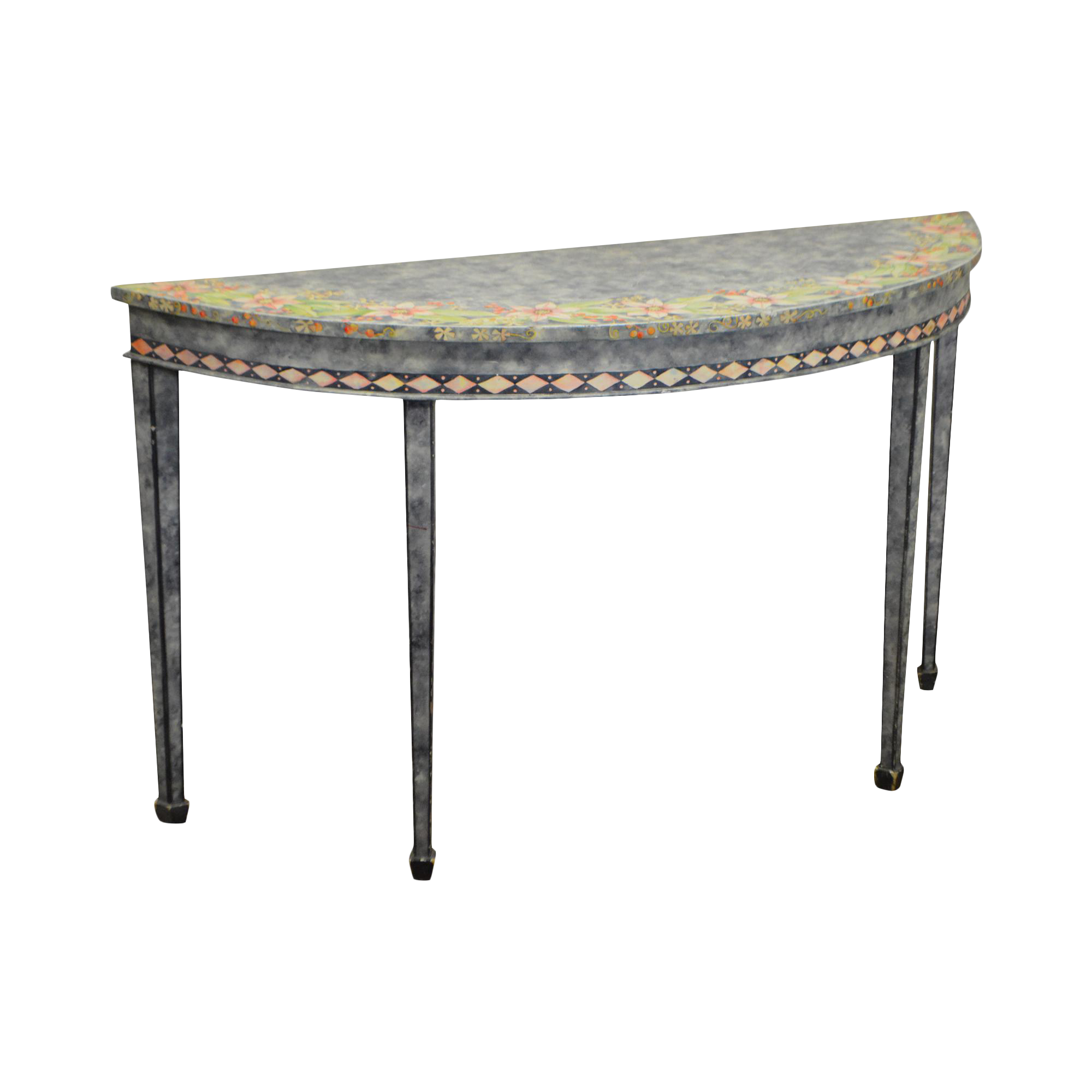 Maitland Smith Hand Painted Demilune Console Table