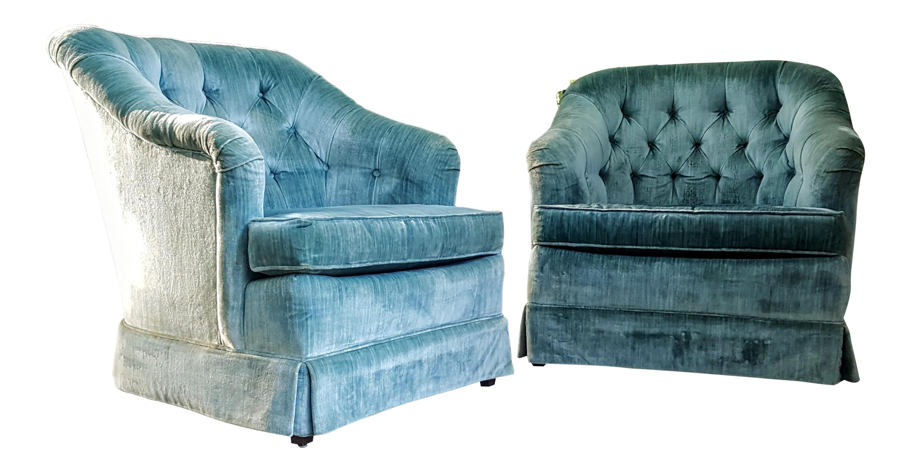 Hollywood Regency Mid Century Velour Aqua Blue Club Chairs A