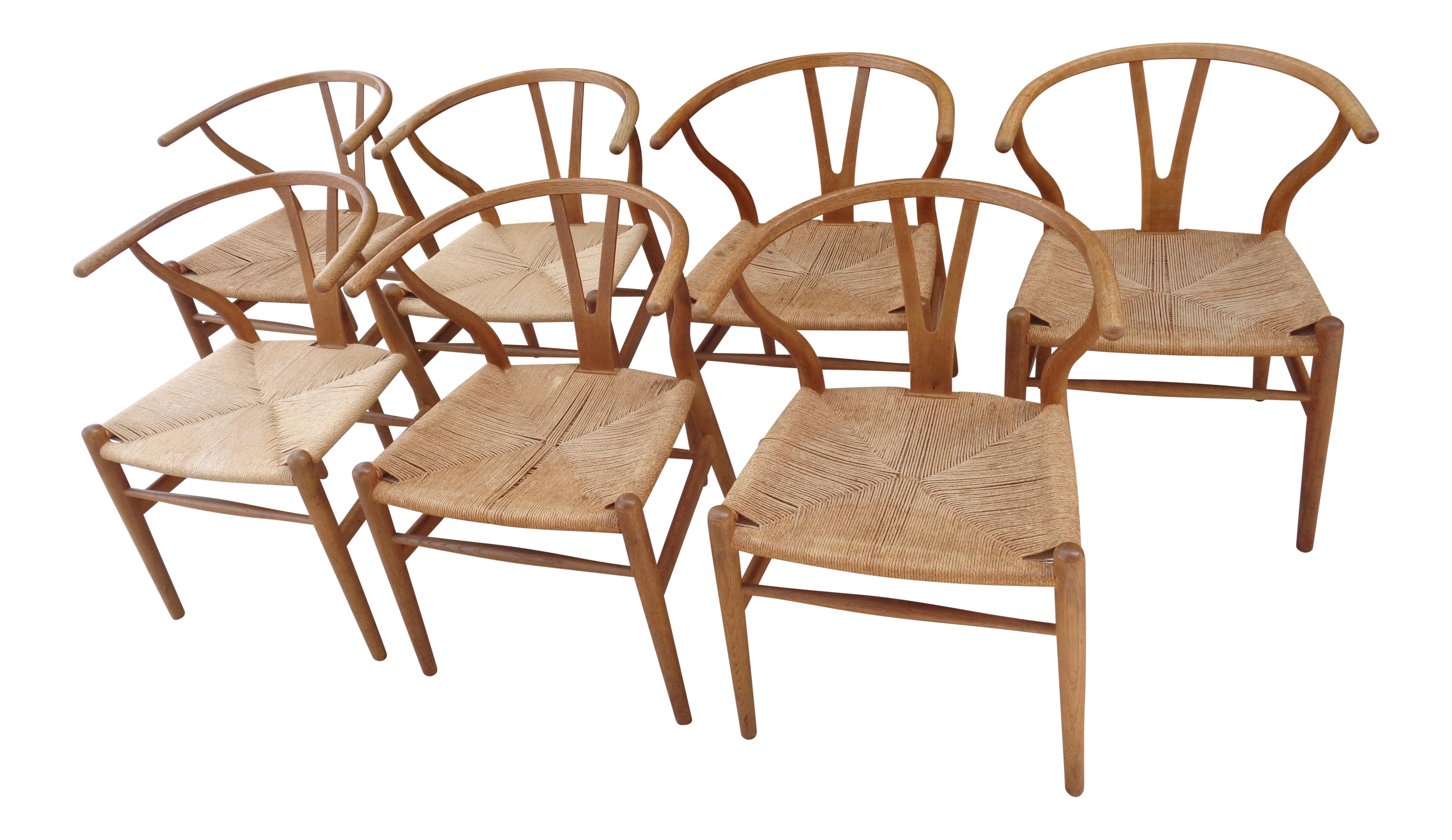 Hans Wegner Danish Modern Wishbone Chairs Set of 7