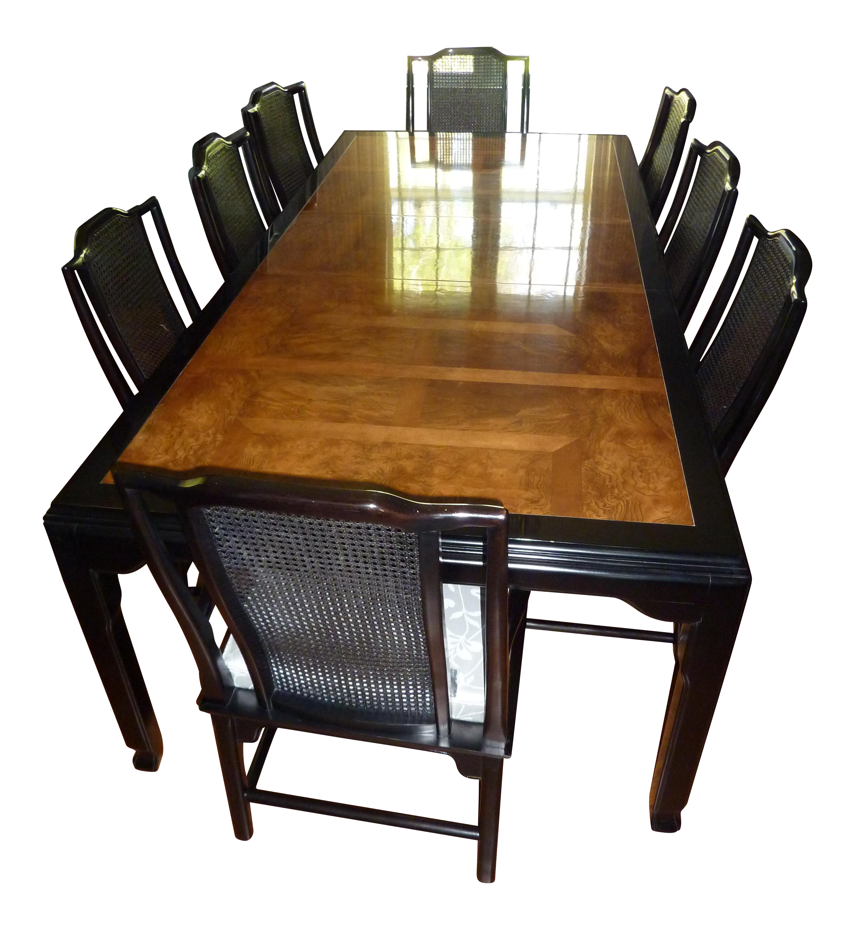 ... Lacquer Dining Room Sets Century Black Lacquer U0026 Burled Wood Dining  Set Chairish ...