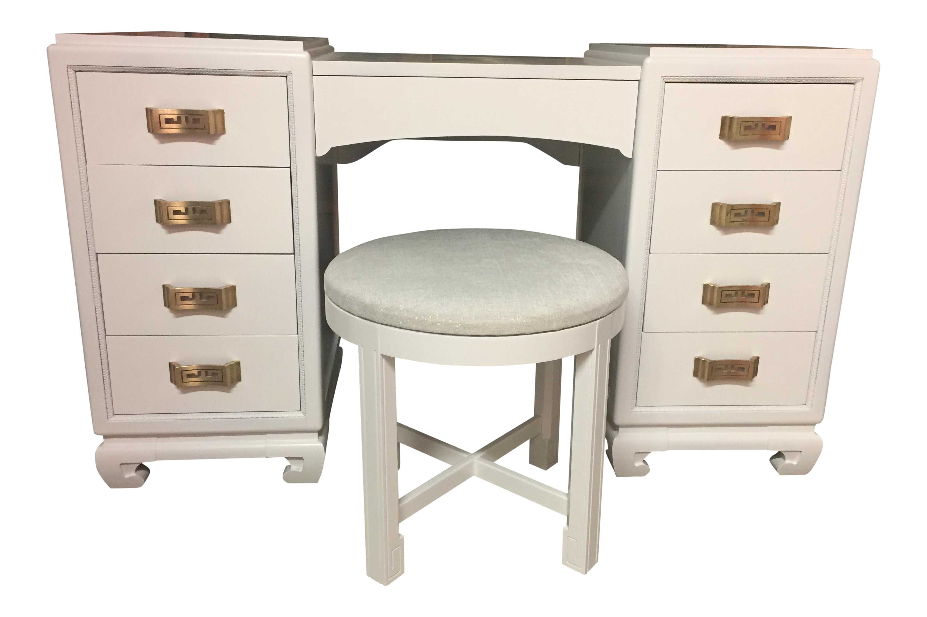 Rway White Lacquer Vanity Table Desk & Stool