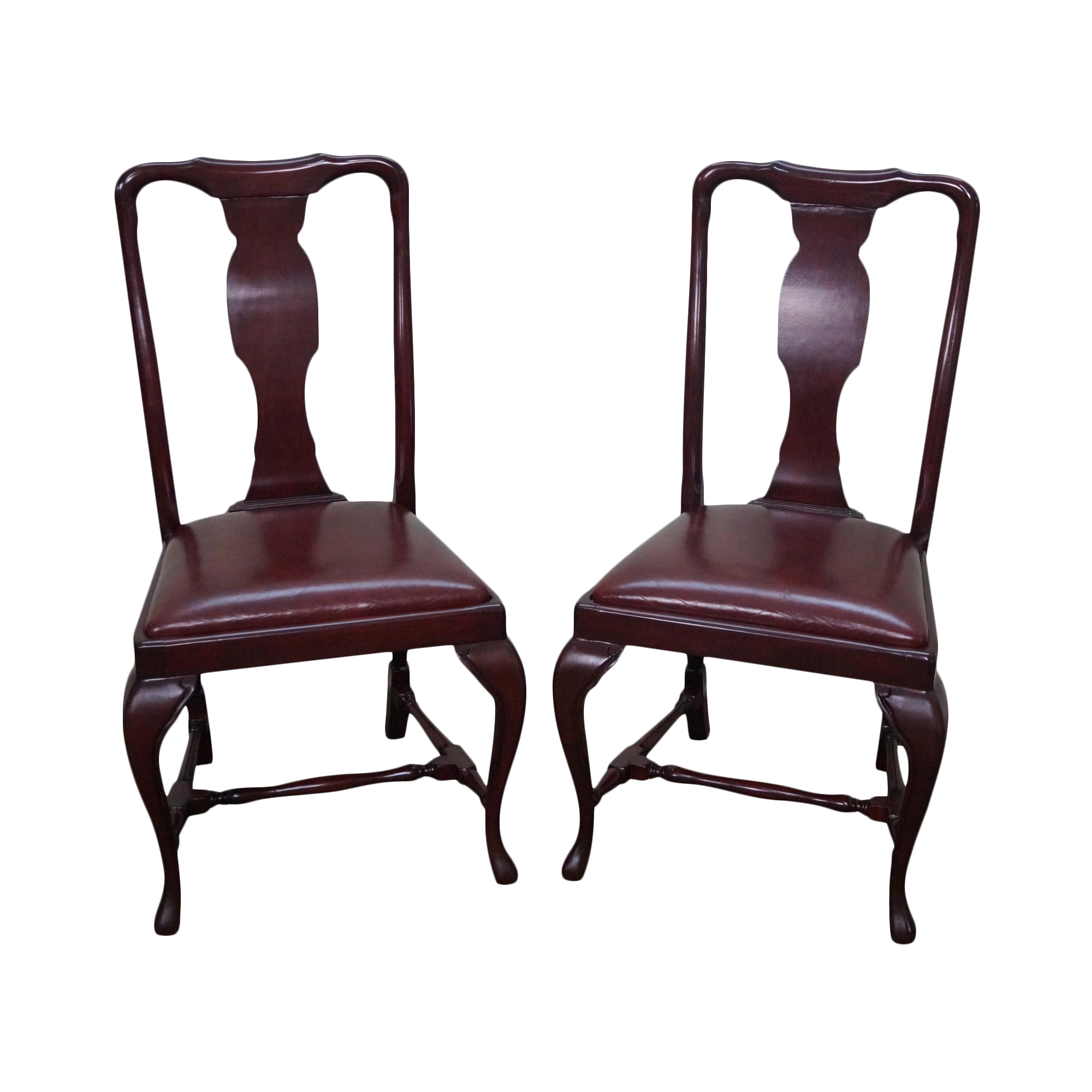 Queen Anne Custom Quality Leather Seat Side Chairs a Pair