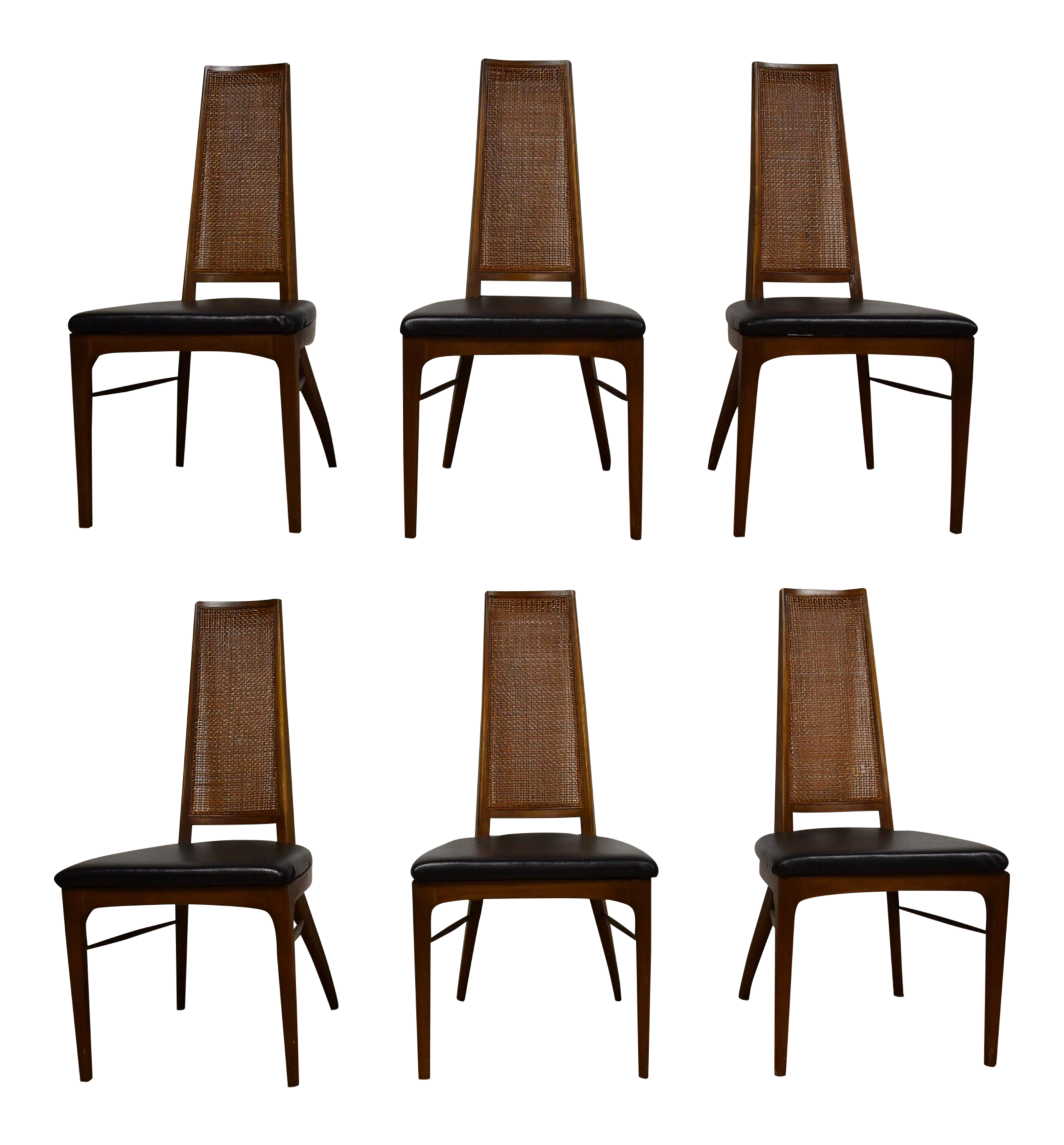 Lane rhythm black vinyl dining chairs set of 6 chairish for Black dining sets with 6 chairs