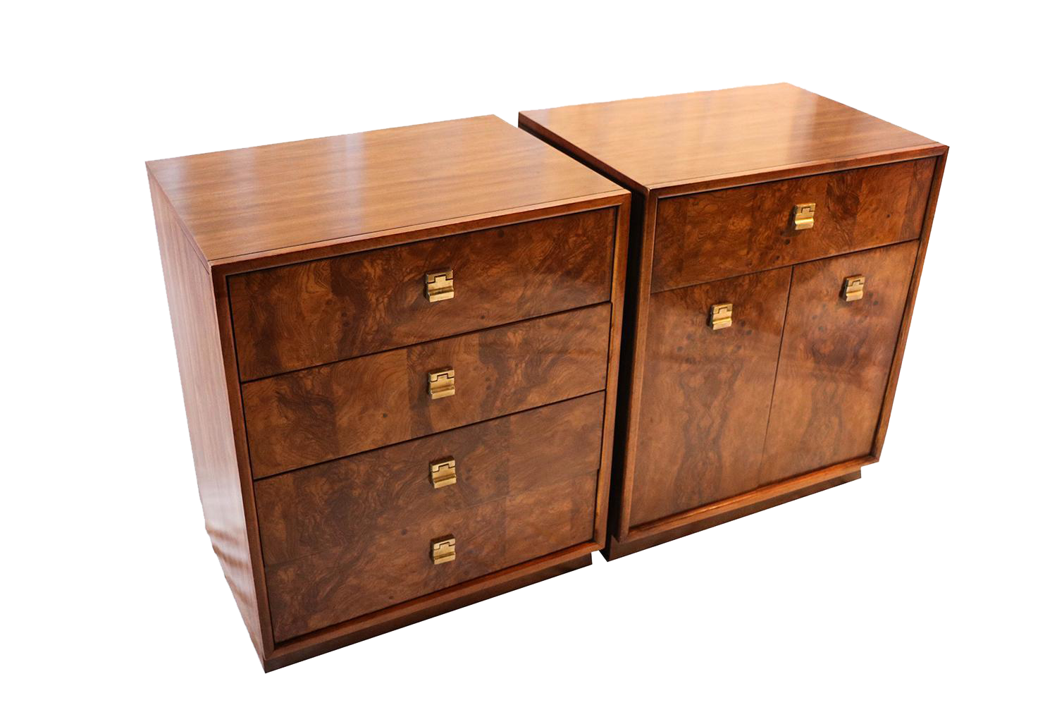 Mid century edward wormley drexel burl wood nightstands for Burl wood kitchen cabinets