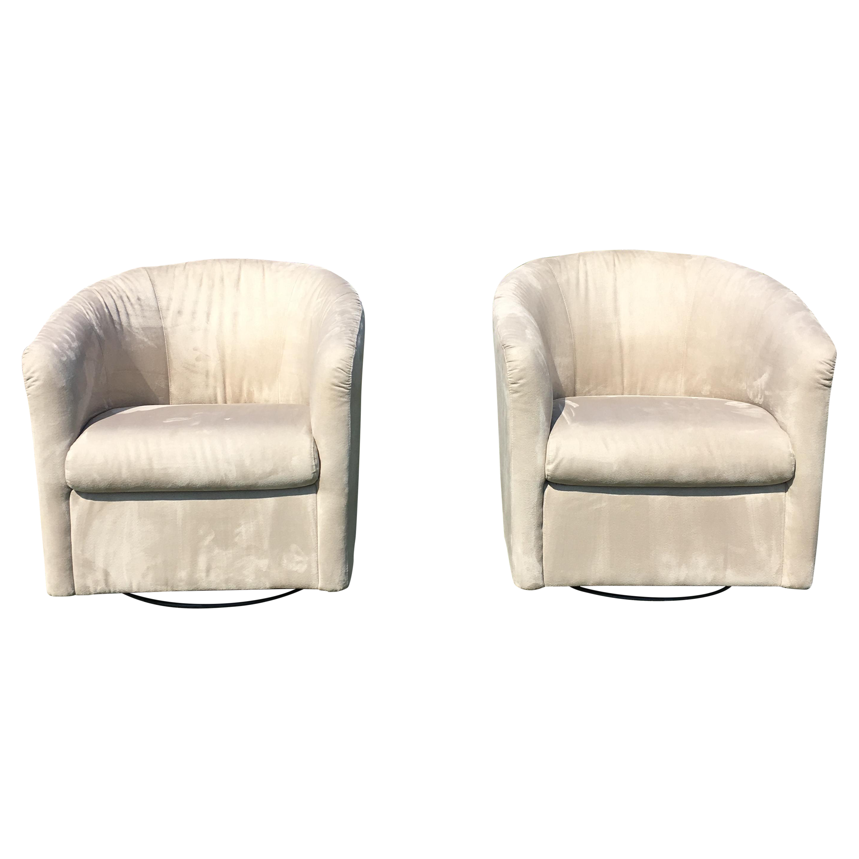 Natuzzi Barrel Swivel Chairs a Pair