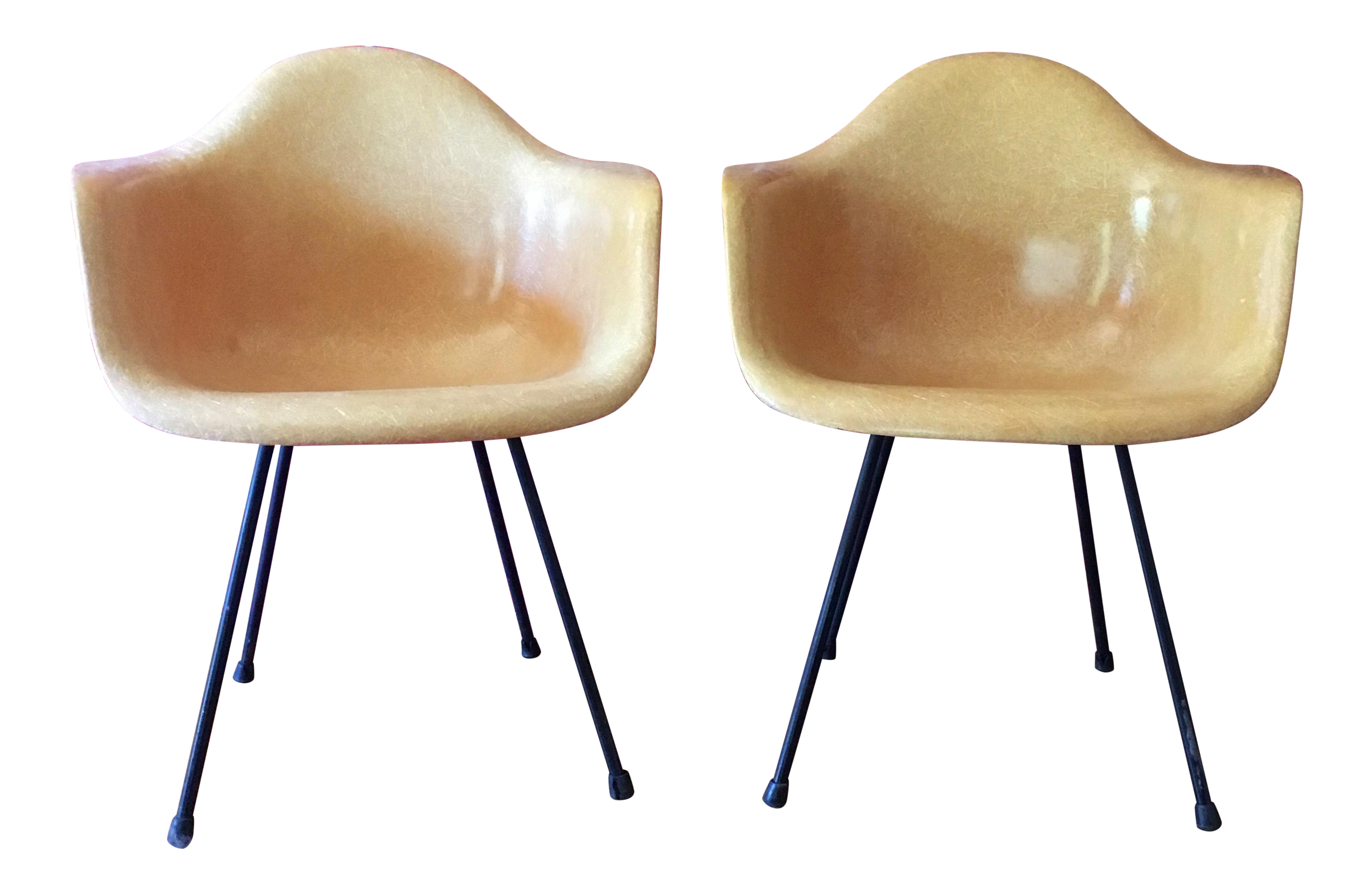 1950 s Herman Miller Eames Molded Fiberglass Chairs A Pair