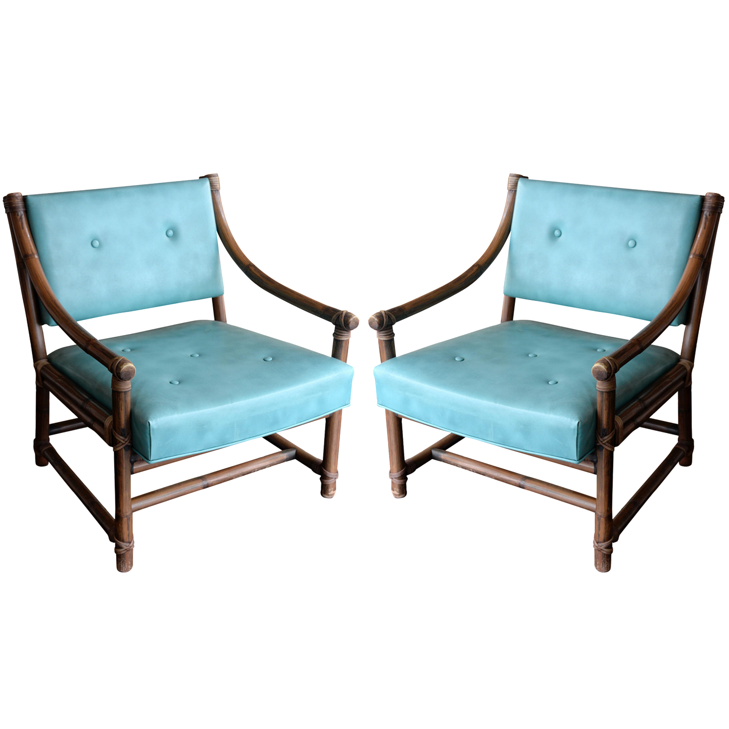 Mcguire Bamboo Leather Rawhide Chairs A Pair Chairish