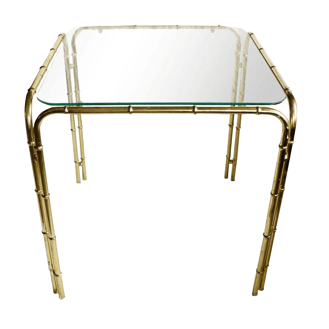 Brass faux bamboo side table chairish for Bamboo side table