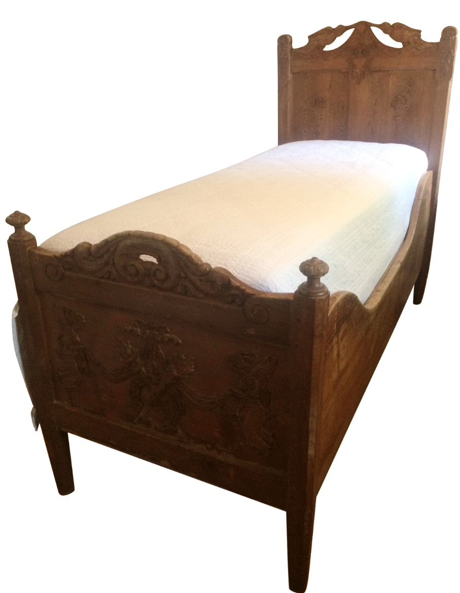 18th or 19th century antique ornate carved twin bed s for Twin bed frames for sale