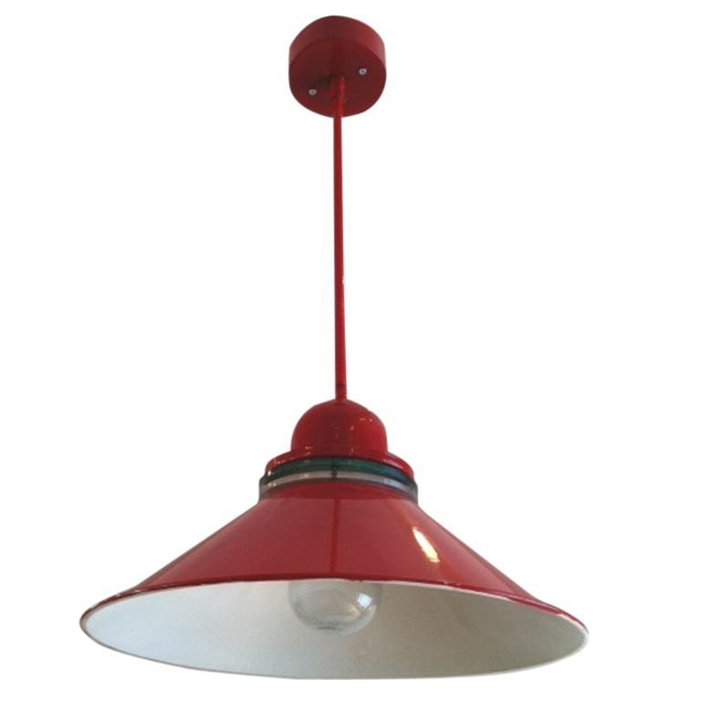 Red Industrial Chandelier: Red Industrial Pendant Lamp