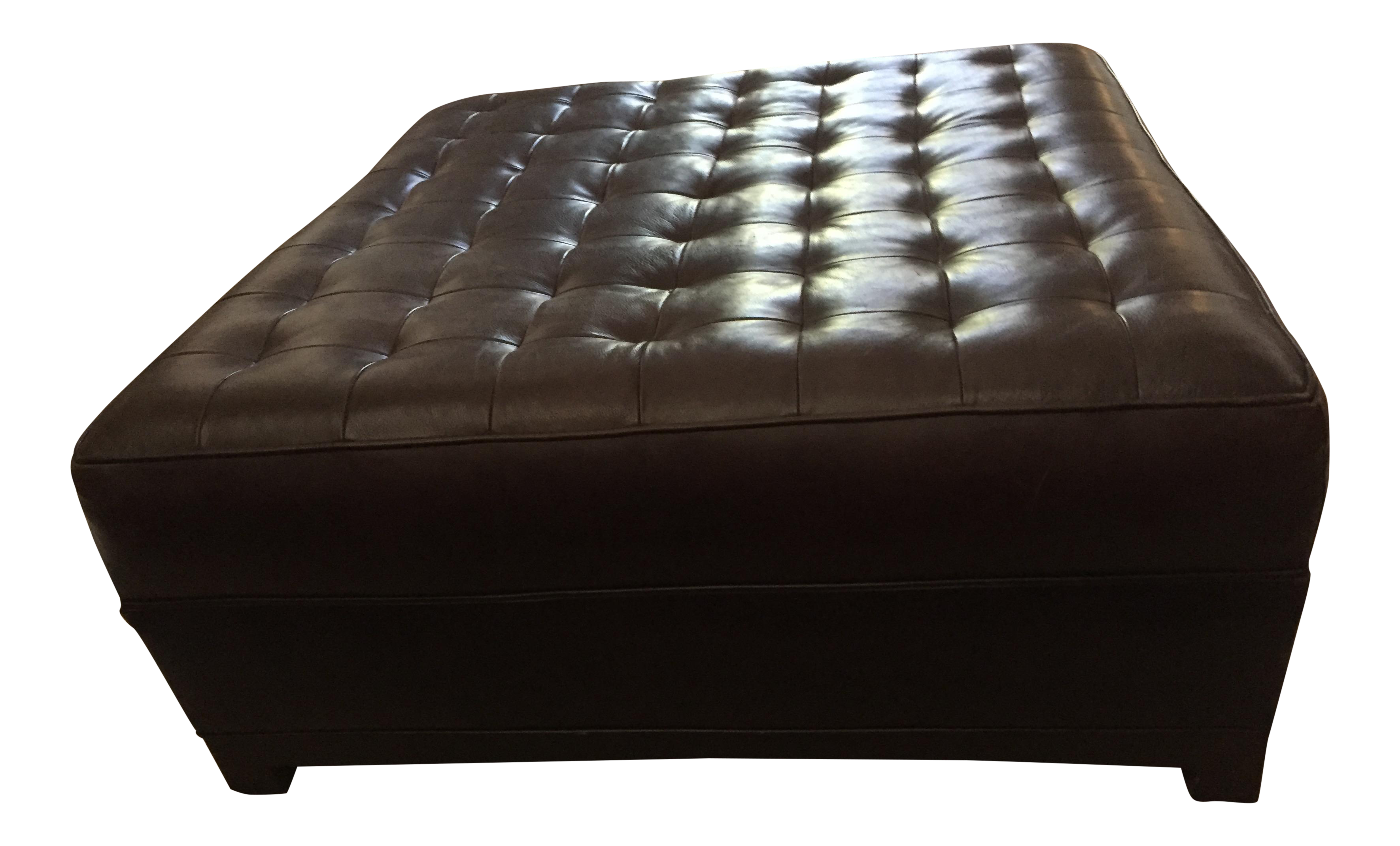 Tufted square leather ottoman chairish