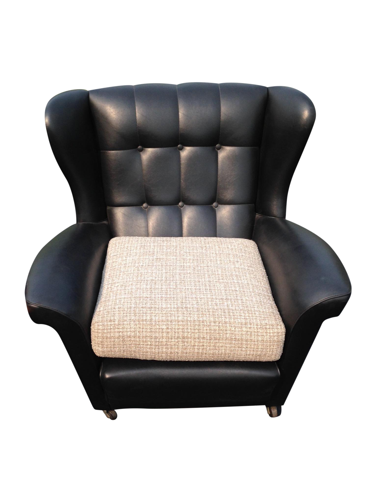 This mid century tufted club chairs is no longer available - Image Of Mid Century Tufted Black Vinyl Club Chair Pair