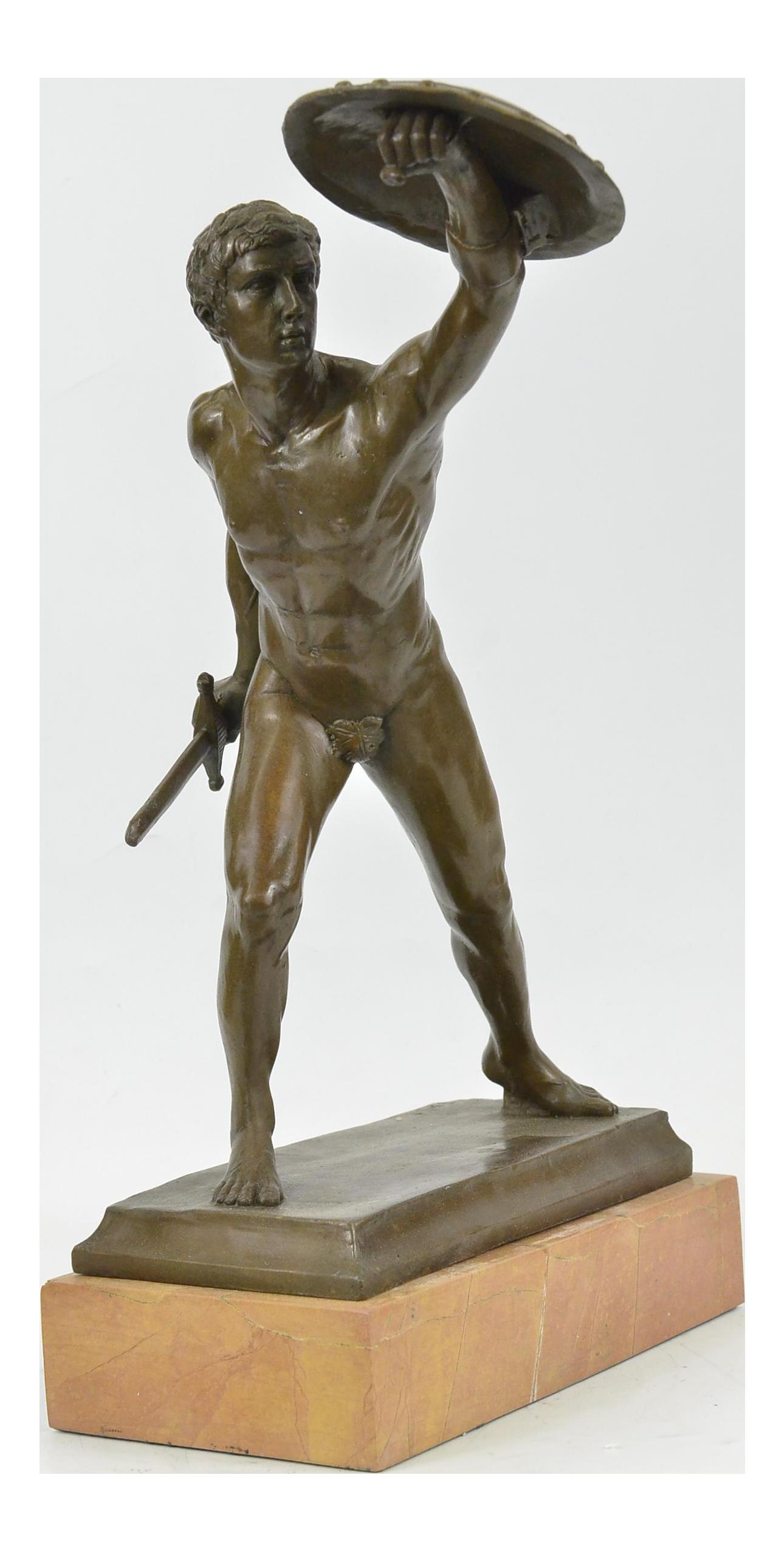 Roman Gladiator Bronze Statue On Marble Base Sculpture